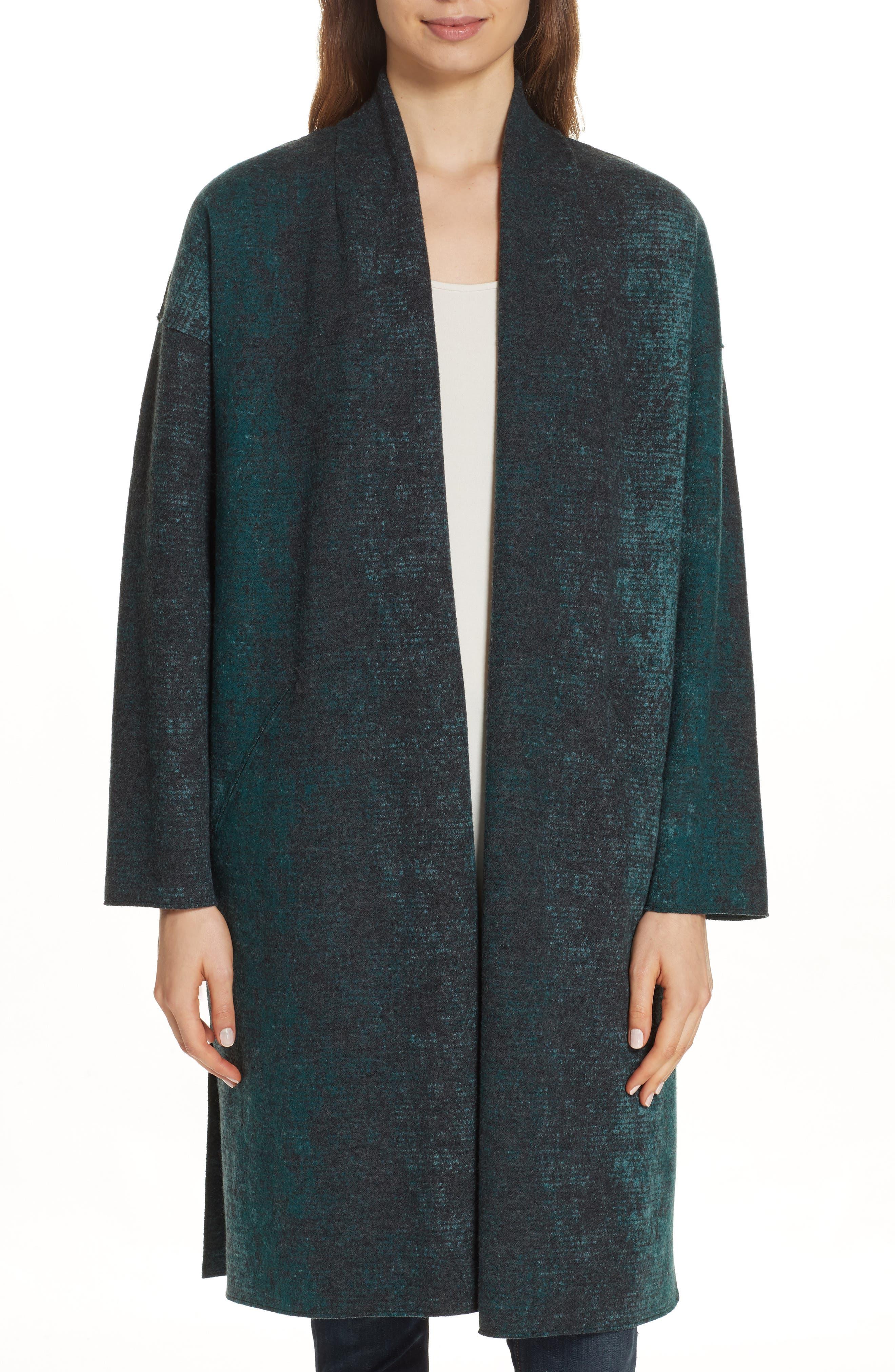 EILEEN FISHER Wool Blend Kimono Coat, Main, color, PINE