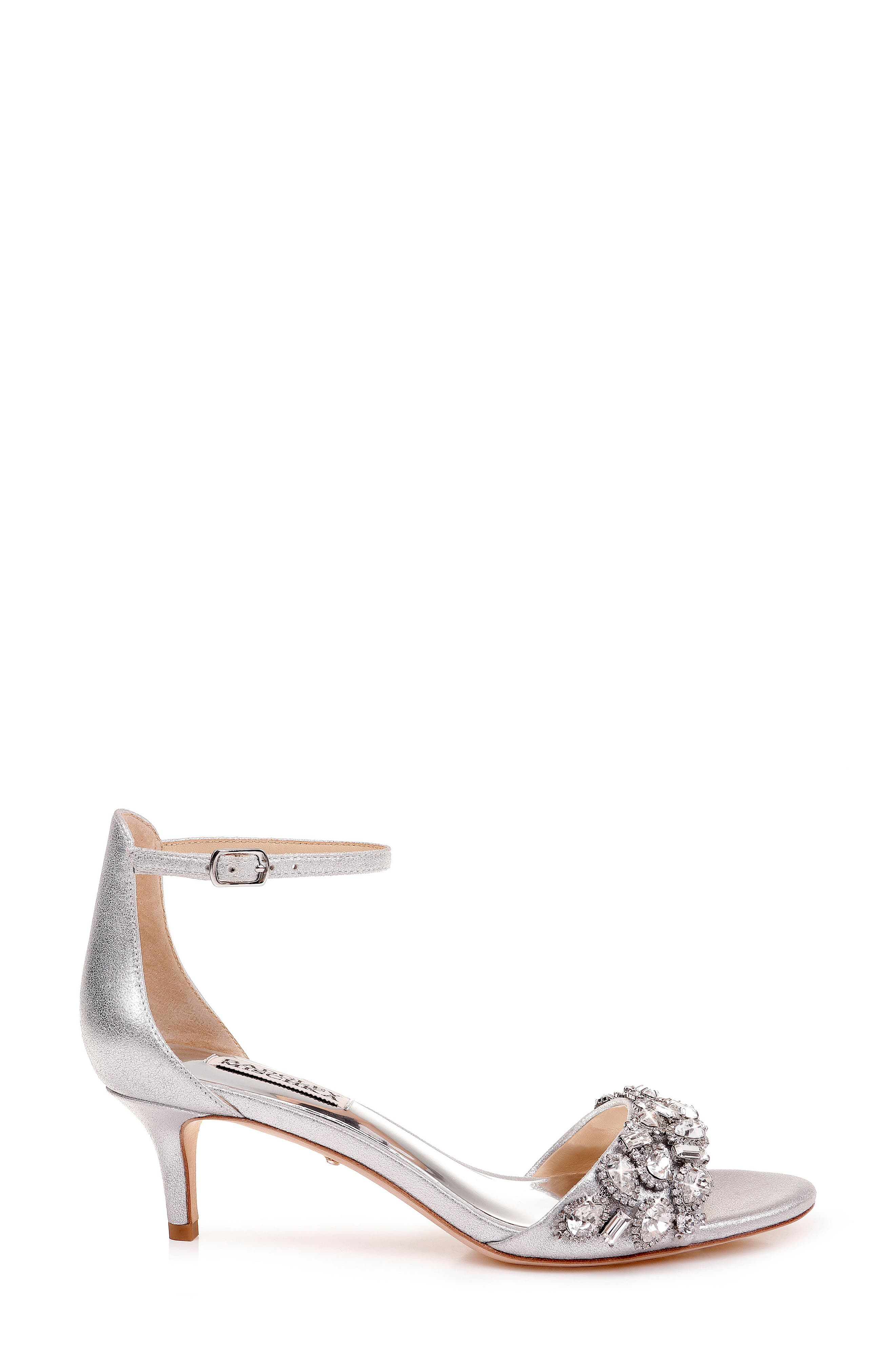 BADGLEY MISCHKA COLLECTION, Badgley Mischka Lara Crystal Embellished Sandal, Alternate thumbnail 4, color, SILVER METALLIC SUEDE