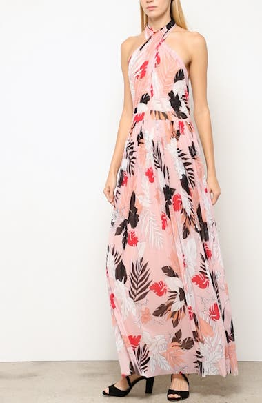 Floral Tulle Cross Halter Maxi Dress, video thumbnail