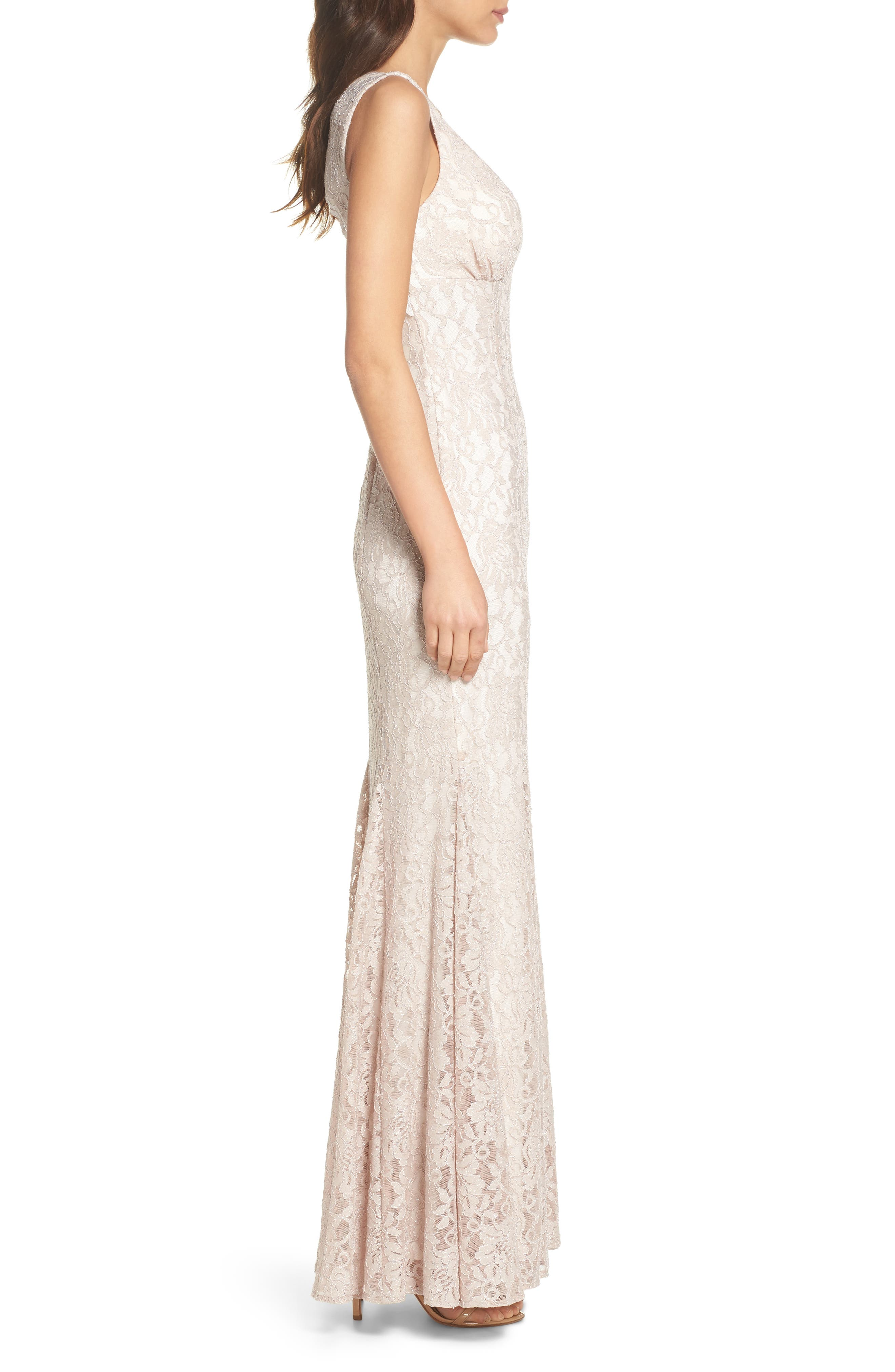 MORGAN & CO., Glitter Lace Trumpet Dress, Alternate thumbnail 3, color, CHAMPAGNE / IVORY