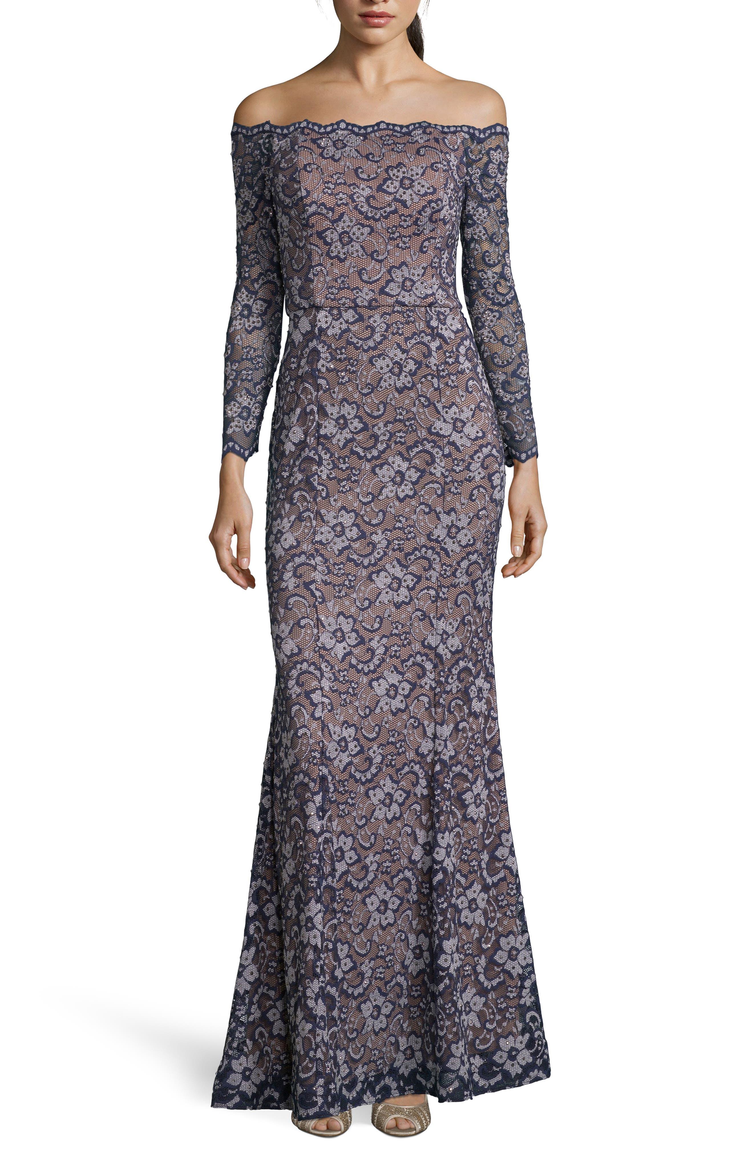Xscape Off The Shoulder Lace Evening Dress, Blue