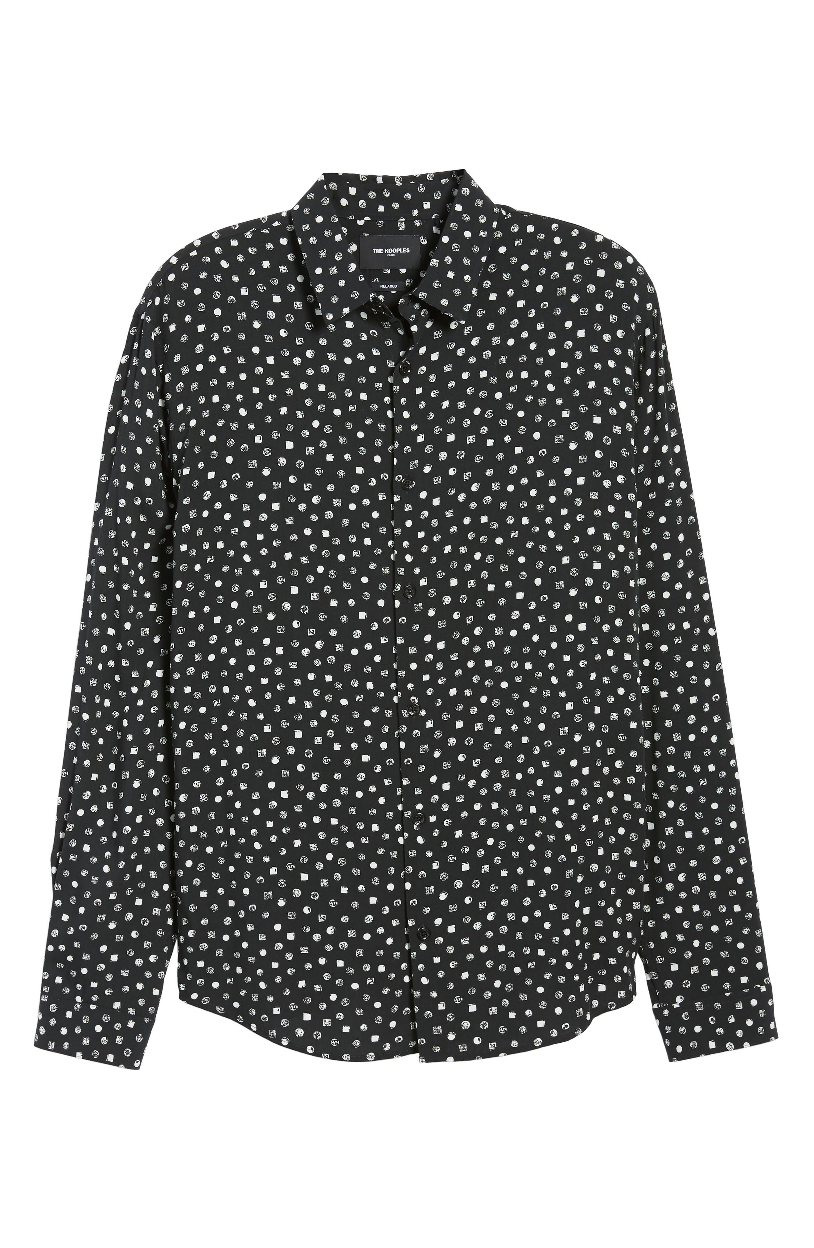 THE KOOPLES, Classic Fit Print Sport Shirt, Alternate thumbnail 5, color, BLACK WHITE