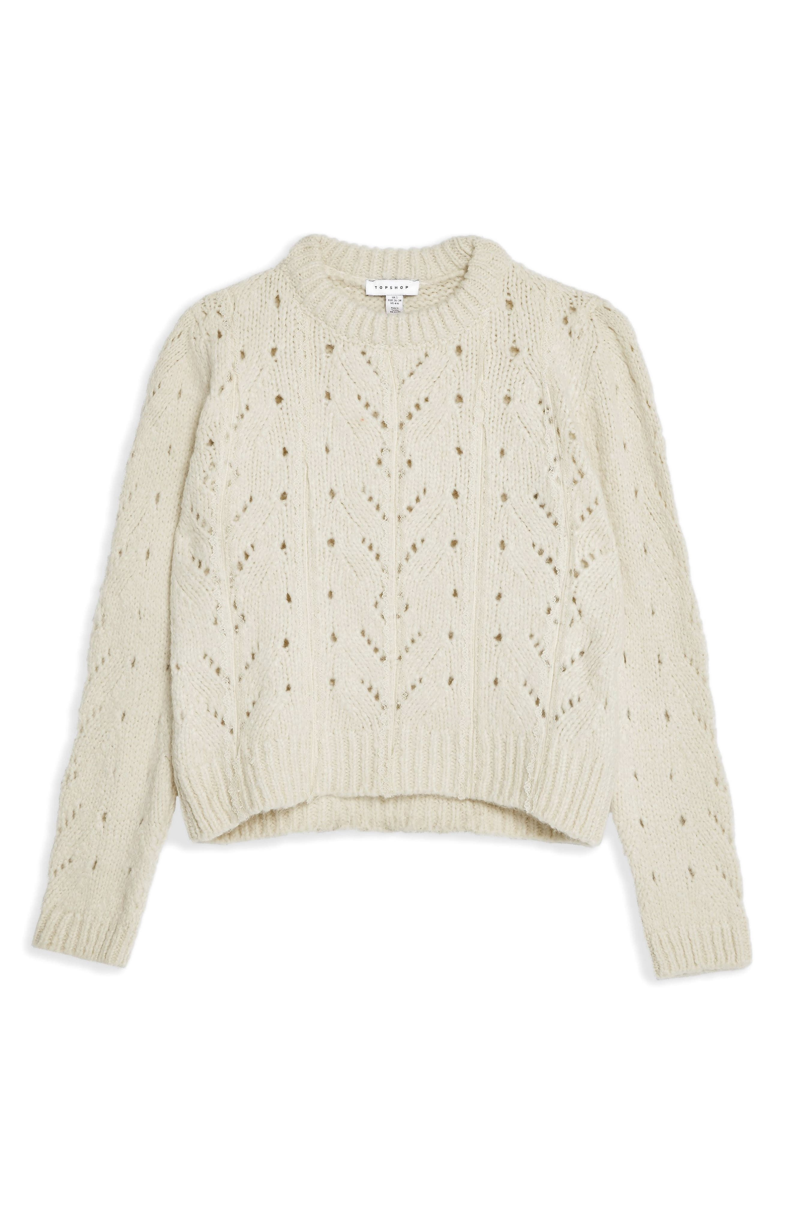 TOPSHOP, Pointelle Lace Sweater, Alternate thumbnail 3, color, IVORY