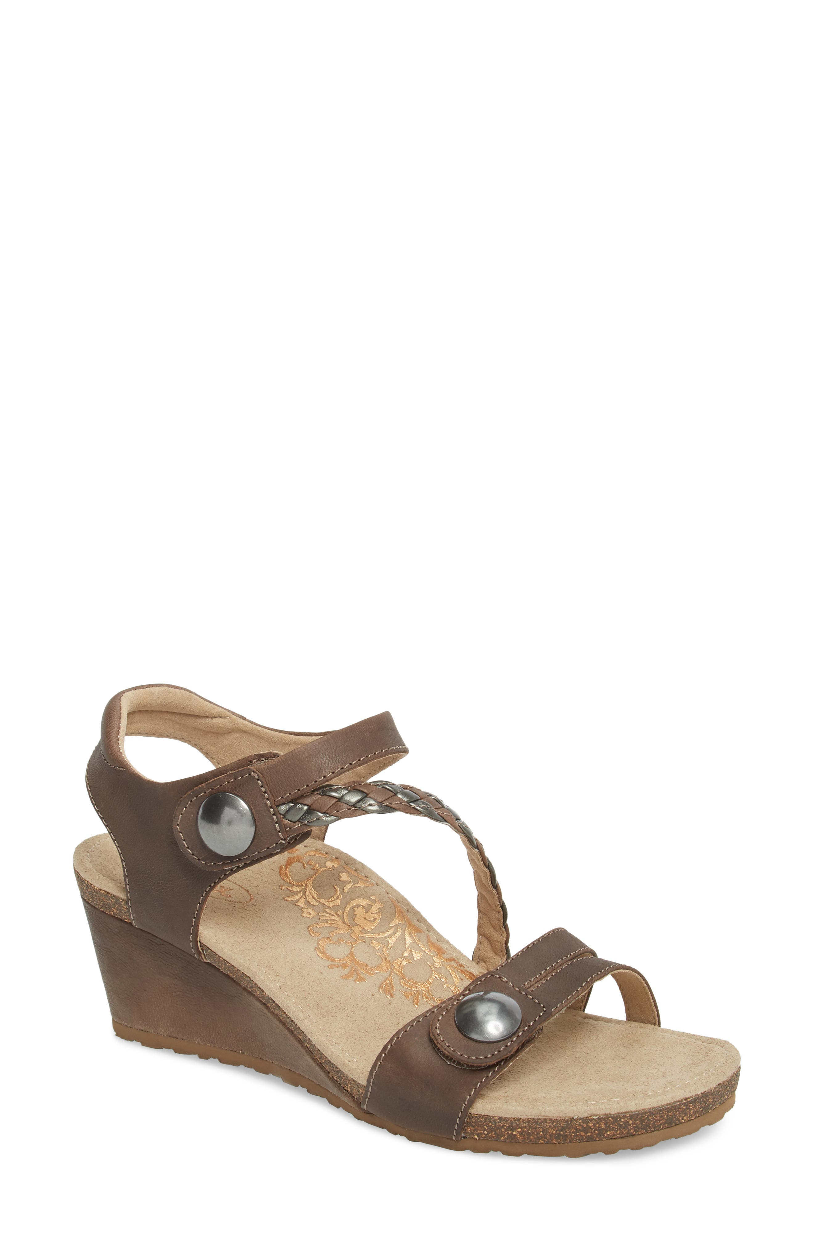 AETREX, 'Naya' Wedge Sandal, Main thumbnail 1, color, STONE LEATHER