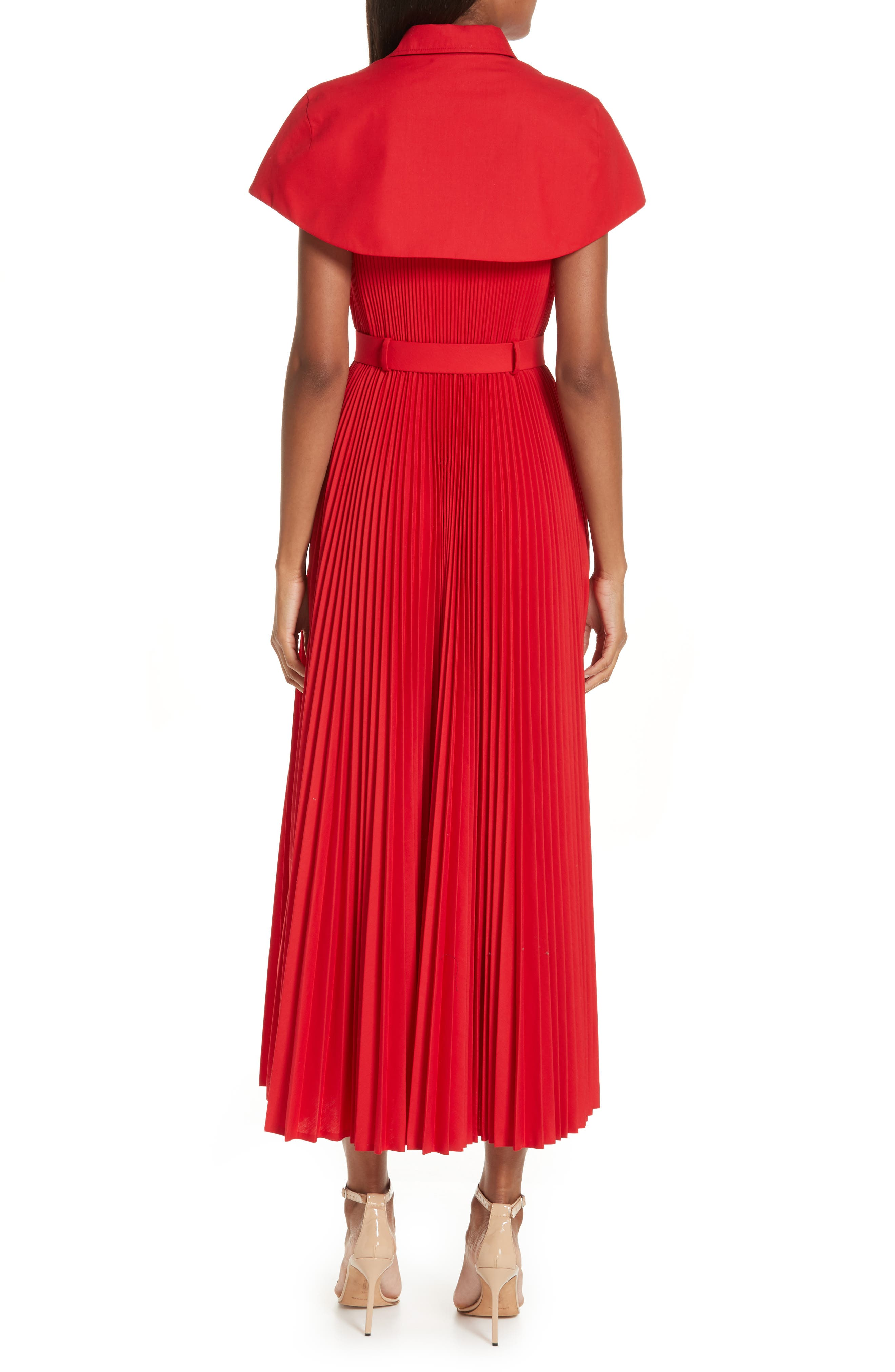 BRANDON MAXWELL, Button Front Pleated Shirtdress, Alternate thumbnail 2, color, RED