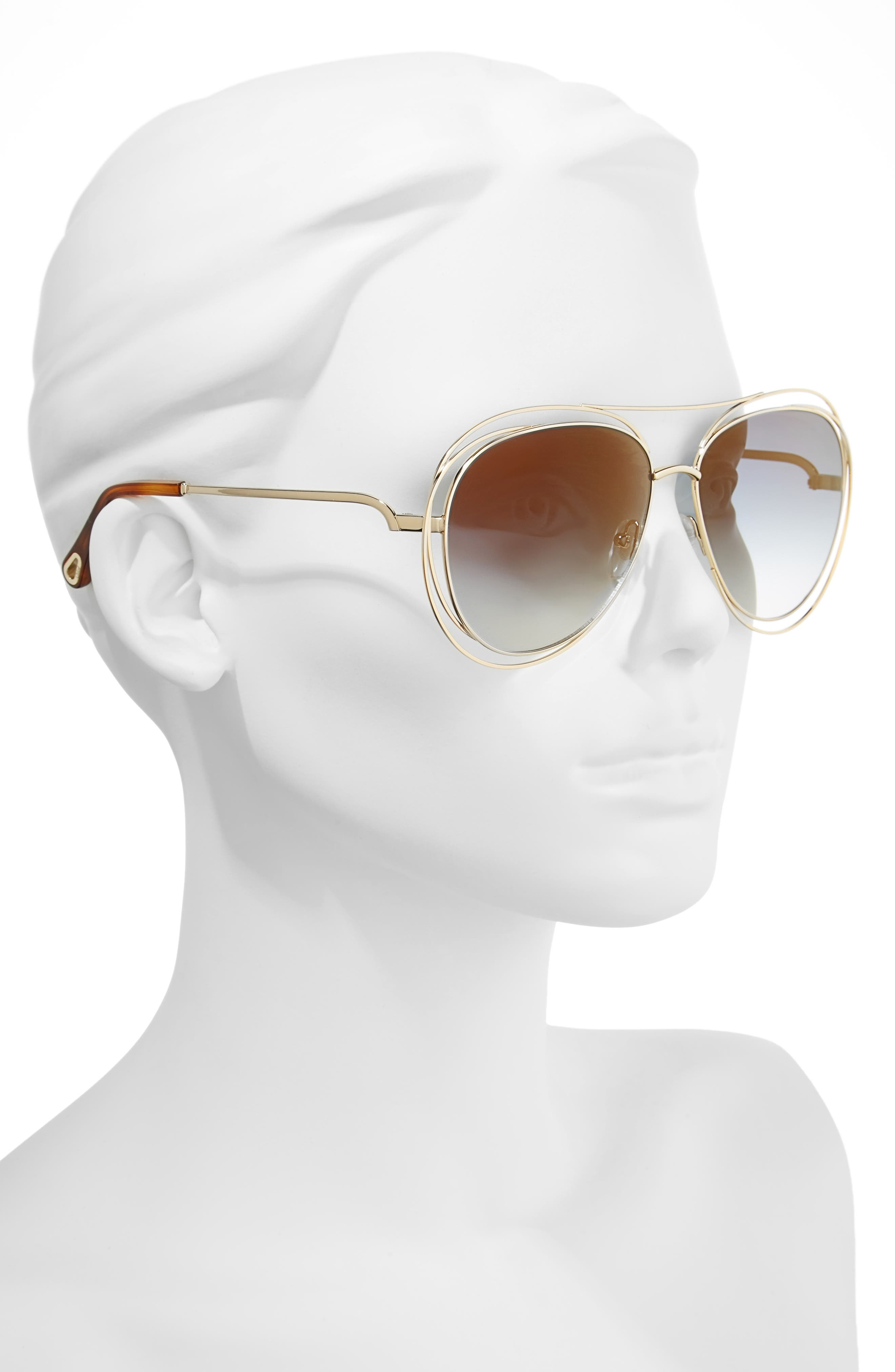 CHLOÉ, 61mm Aviator Sunglasses, Alternate thumbnail 2, color, GOLD/ HAVANA/ FLASH BLUE