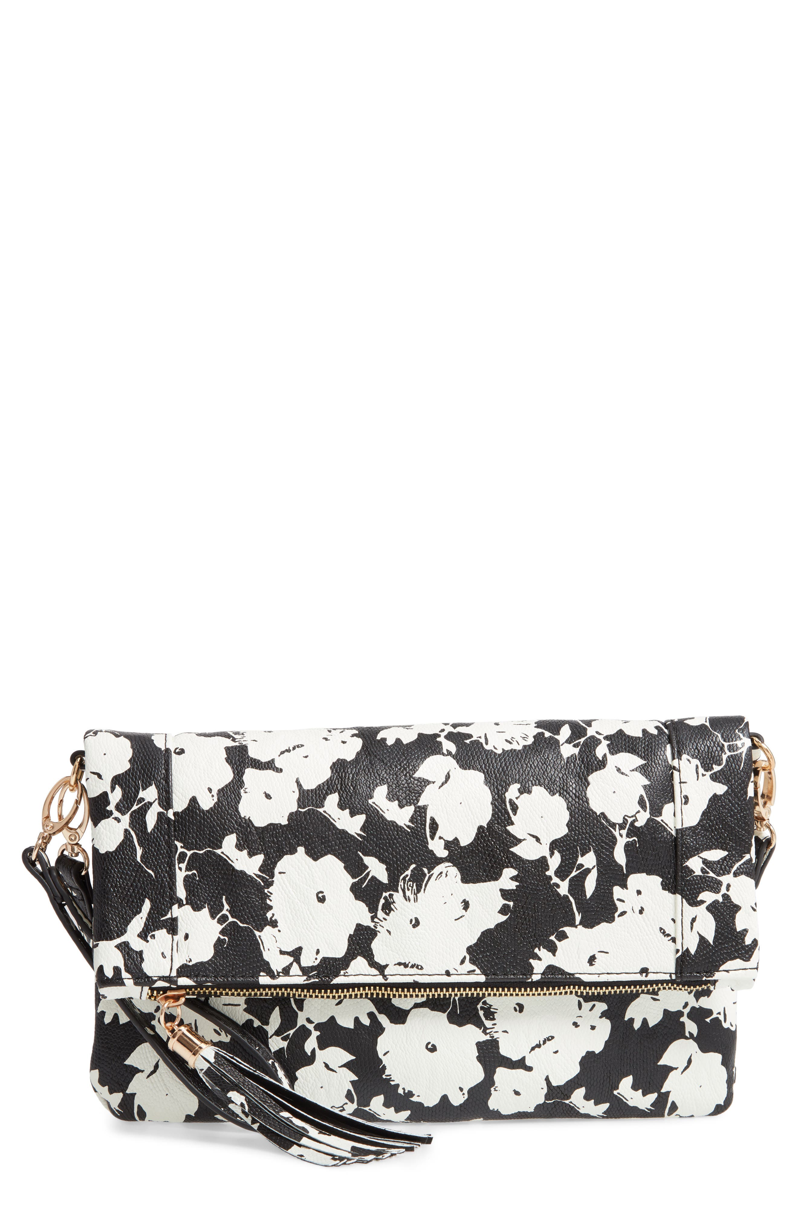 SOLE SOCIETY, 'Tasia' Print Foldover Clutch, Main thumbnail 1, color, BLACK FLORAL