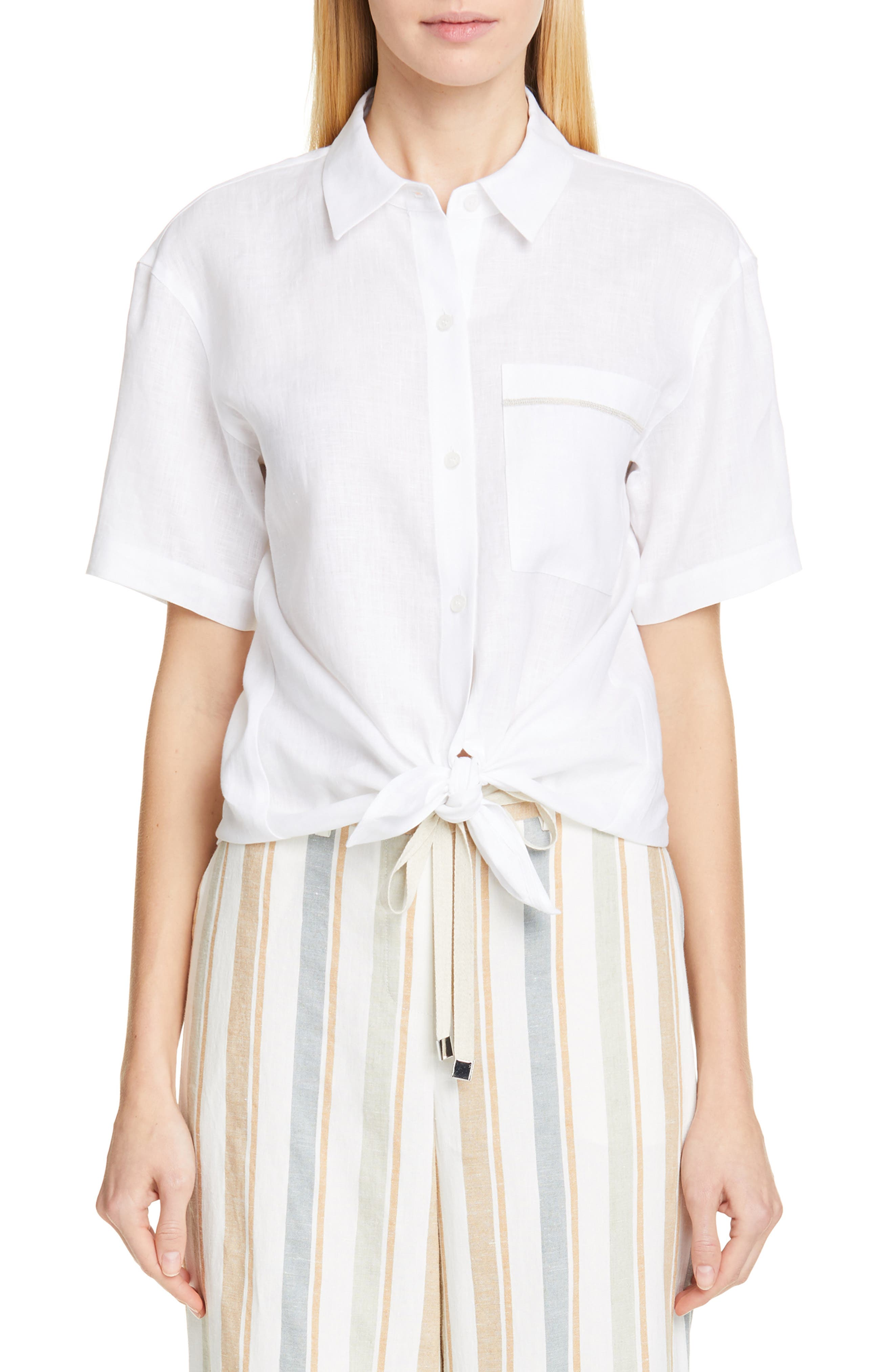 LAFAYETTE 148 NEW YORK, Justice Linen Shirt, Main thumbnail 1, color, WHITE