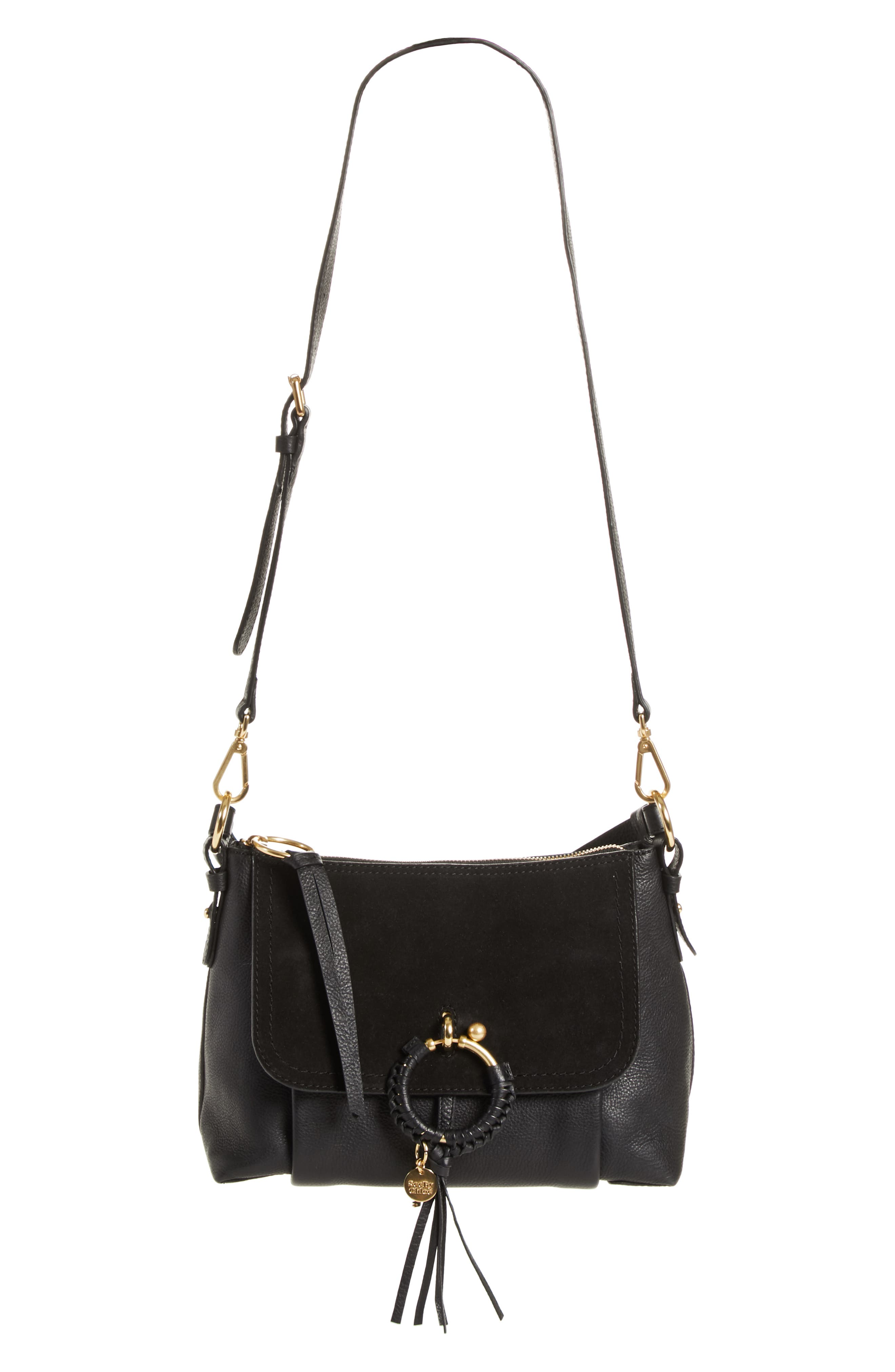 SEE BY CHLOÉ, Small Joan Suede & Leather Crossbody Bag, Main thumbnail 1, color, BLACK