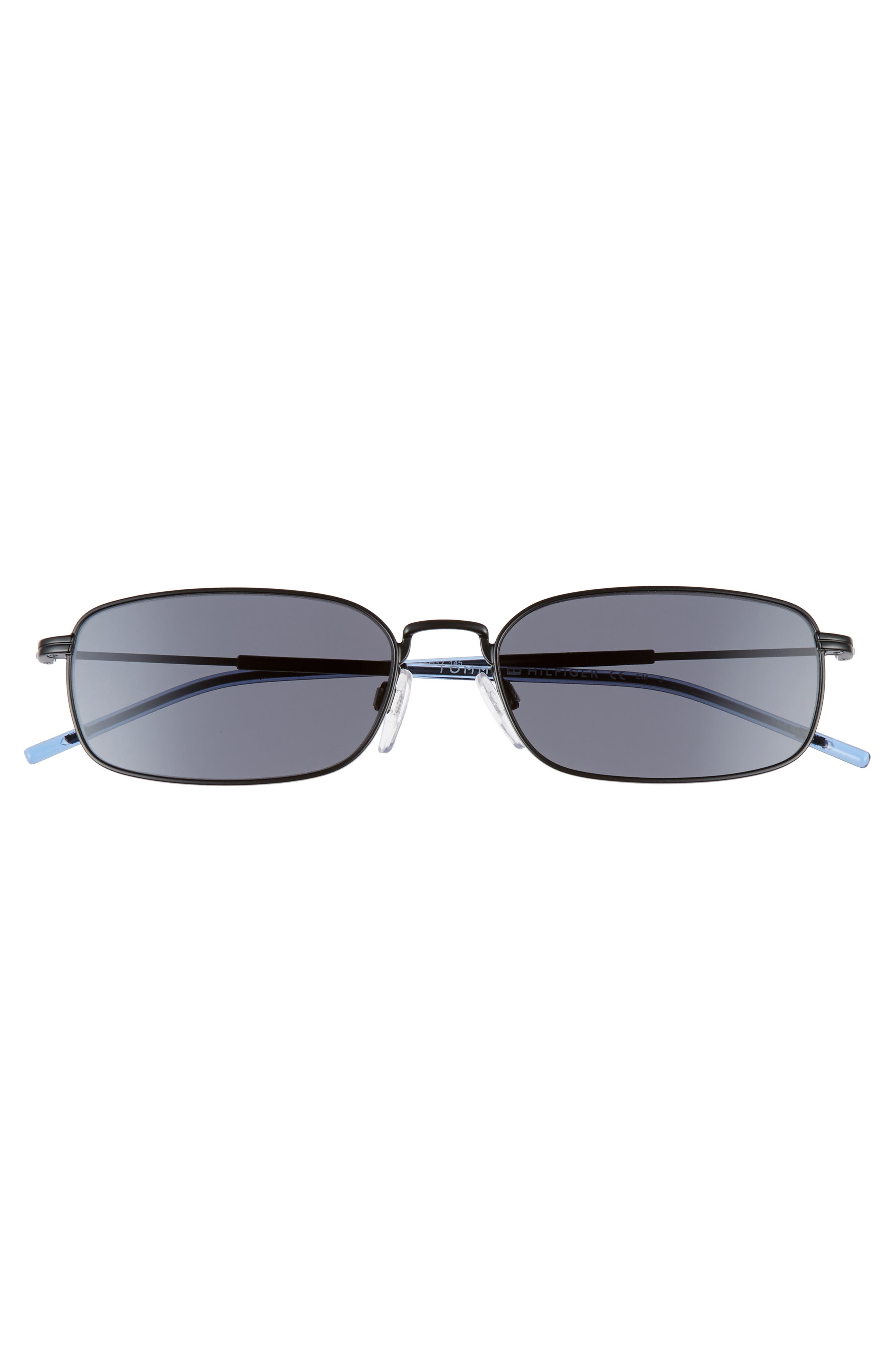 TOMMY HILFIGER, 55mm Rectangle Sunglasses, Alternate thumbnail 3, color, MATTE BLACK/ BLACK
