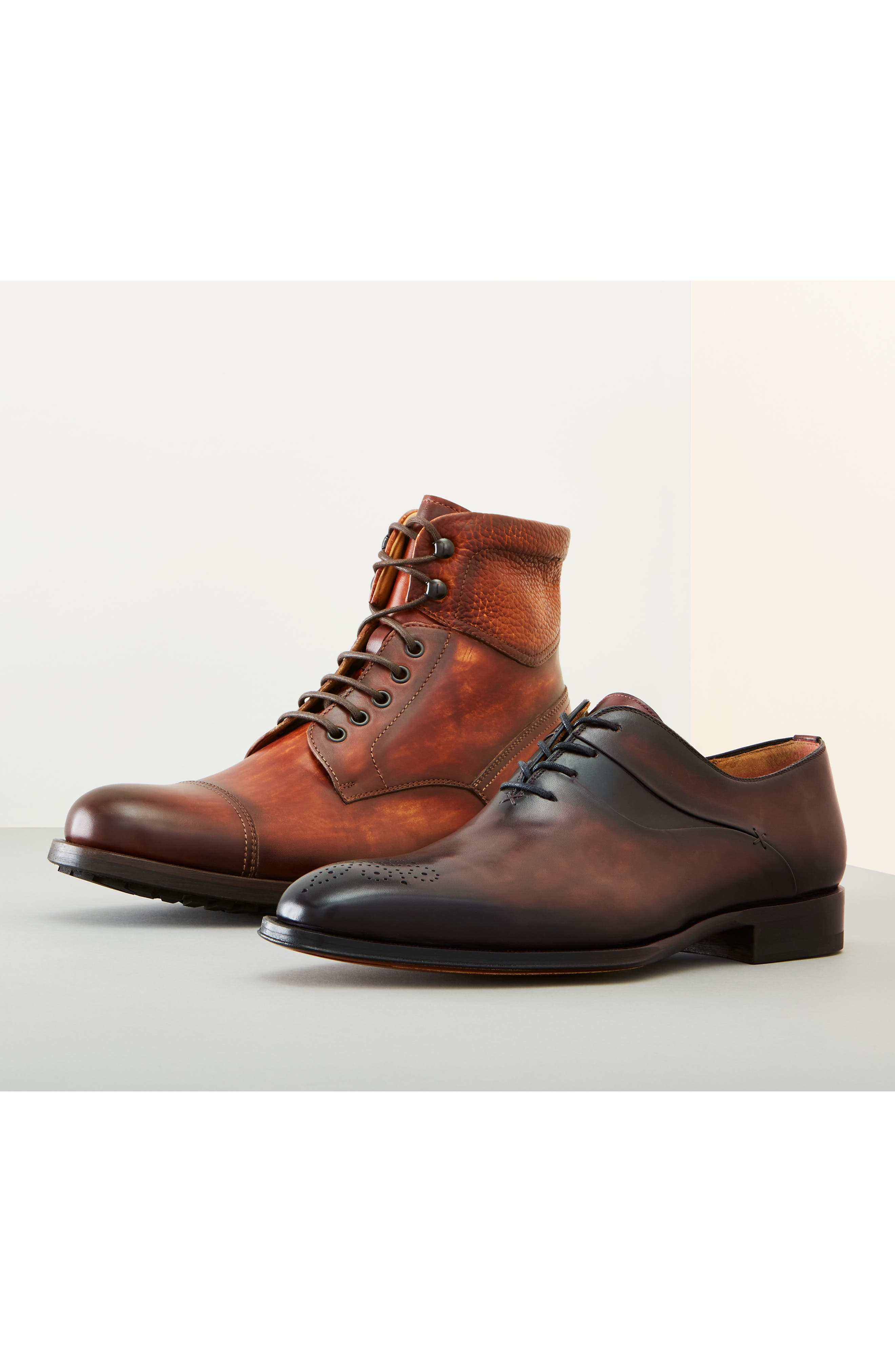 MAGNANNI, Peyton Cap Toe Boot, Alternate thumbnail 7, color, TOBACCO LEATHER