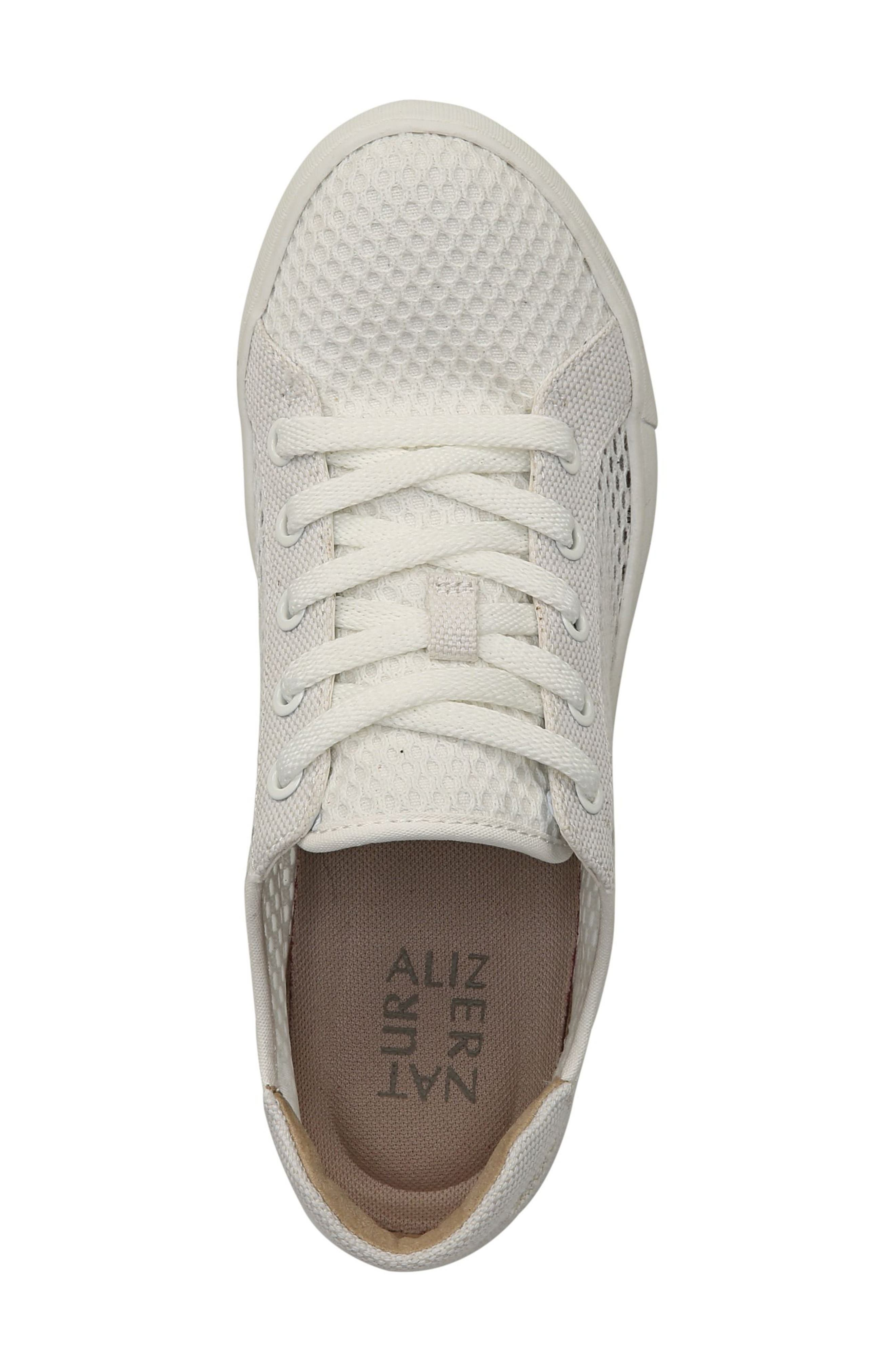 NATURALIZER, Morrison III Perforated Sneaker, Alternate thumbnail 5, color, WHITE FABRIC