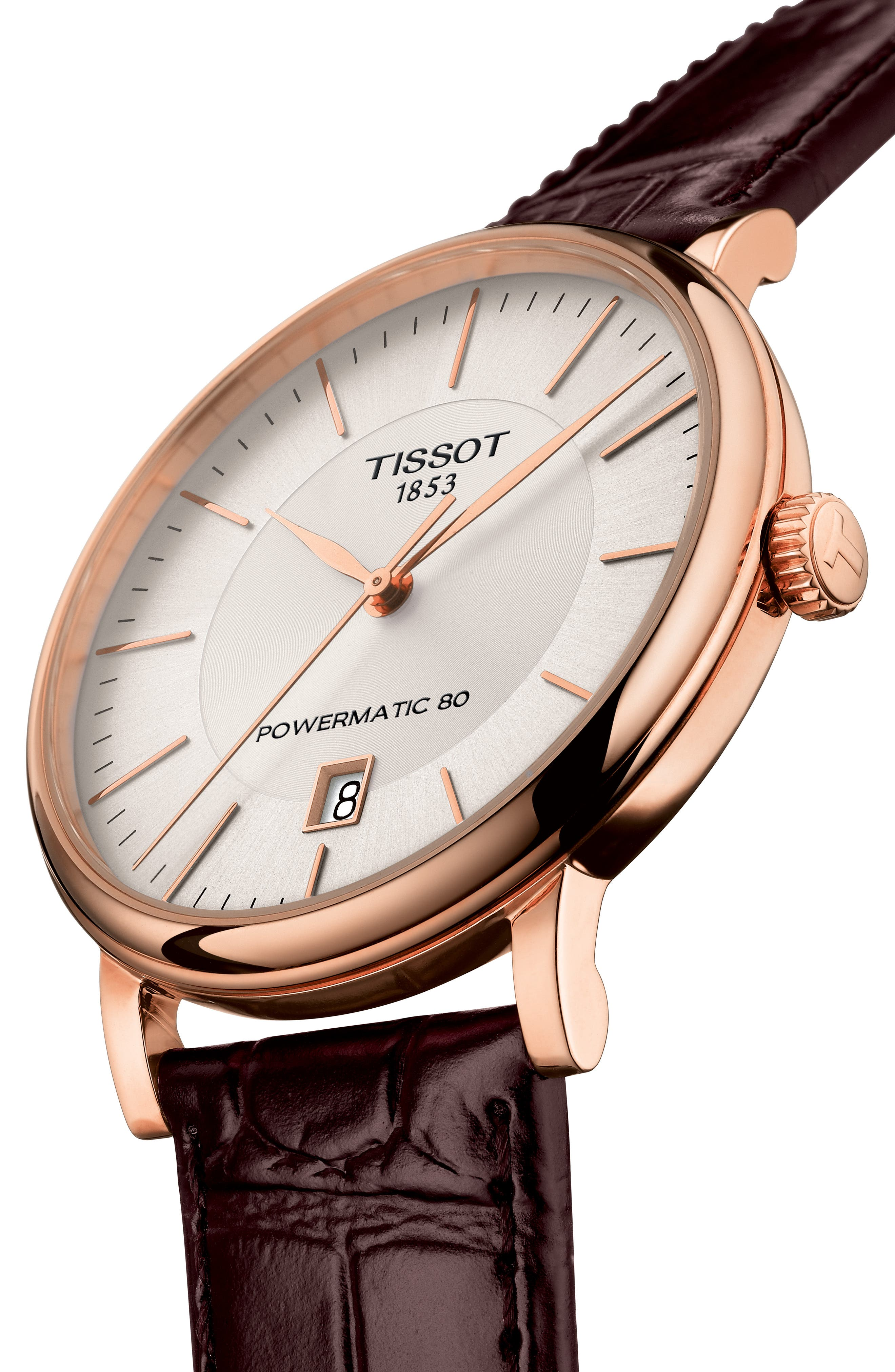 TISSOT, Premium Carson Powermatic 80 Leather Strap Watch, 40mm, Alternate thumbnail 2, color, BROWN/ SILVER/ ROSE GOLD