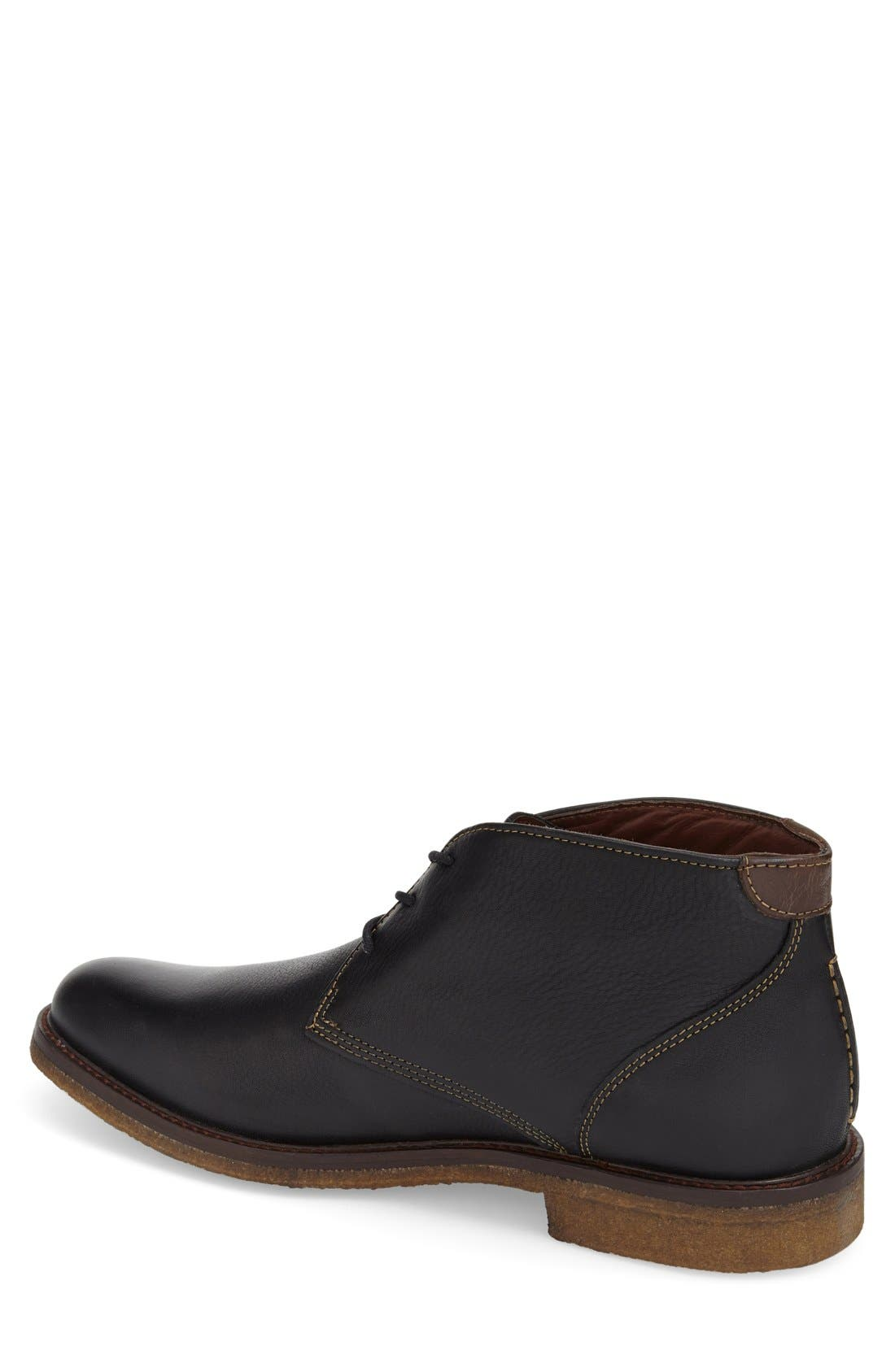 JOHNSTON & MURPHY, 'Copeland' Suede Chukka Boot, Alternate thumbnail 4, color, BLACK LEATHER
