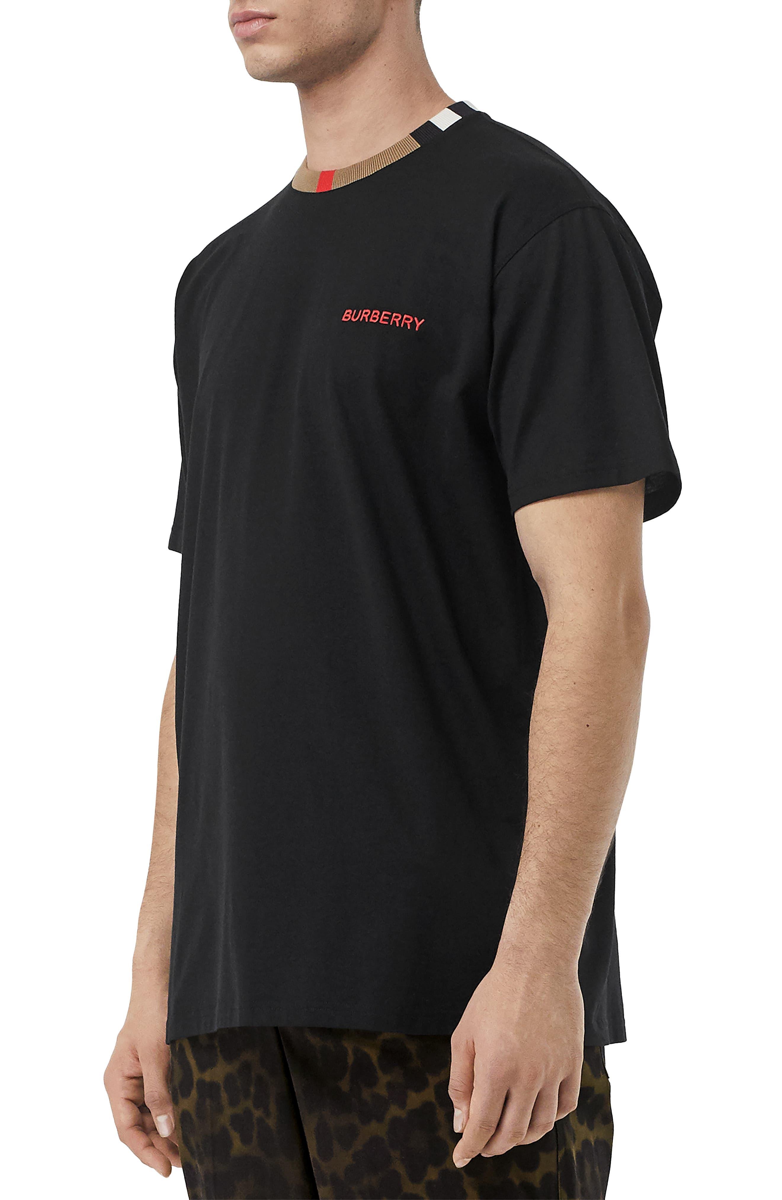 BURBERRY, Jayson Icon Stripe T-Shirt, Alternate thumbnail 3, color, BLACK