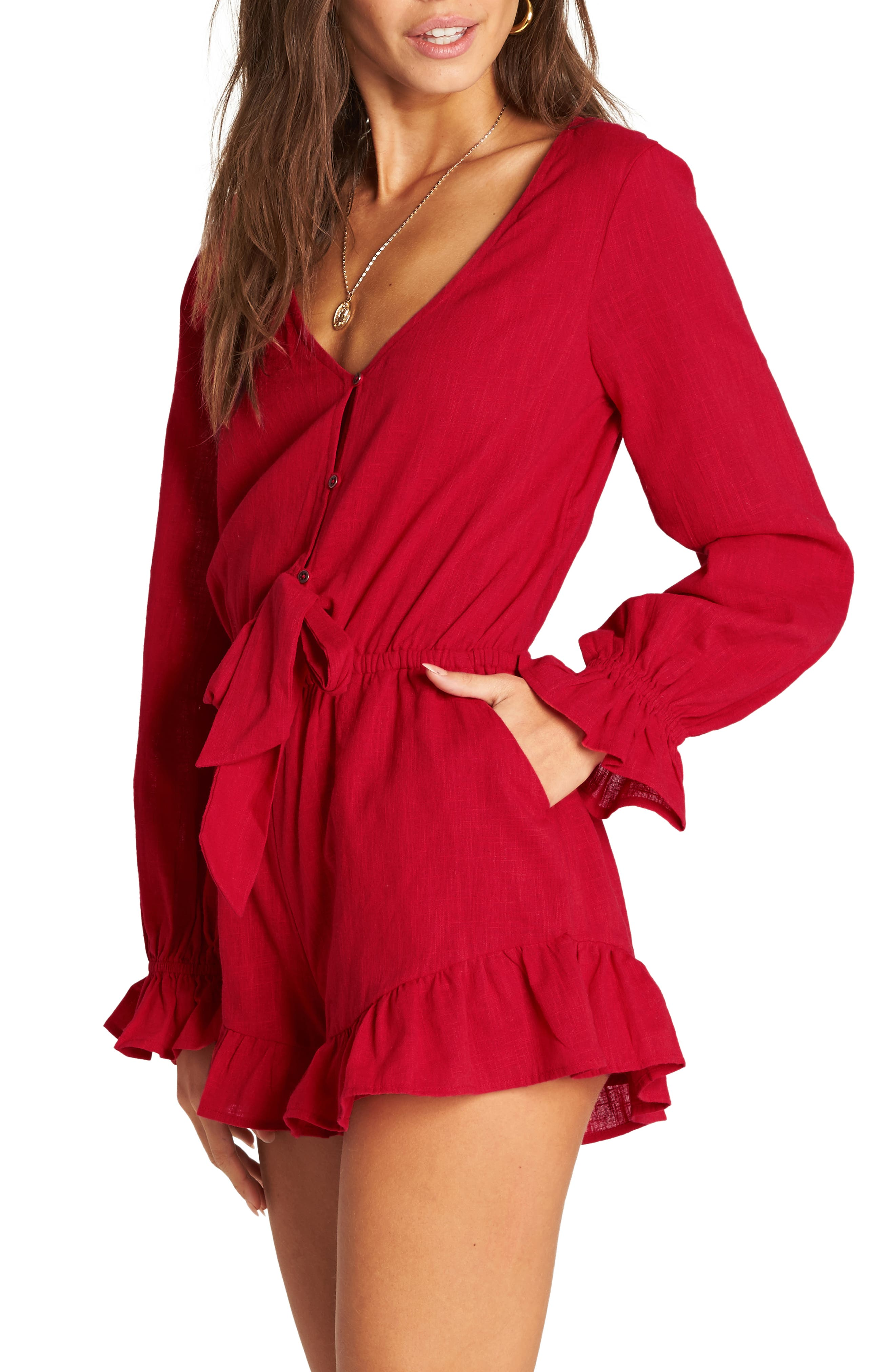 BILLABONG, Play All Day Romper, Alternate thumbnail 4, color, HAVANA RED