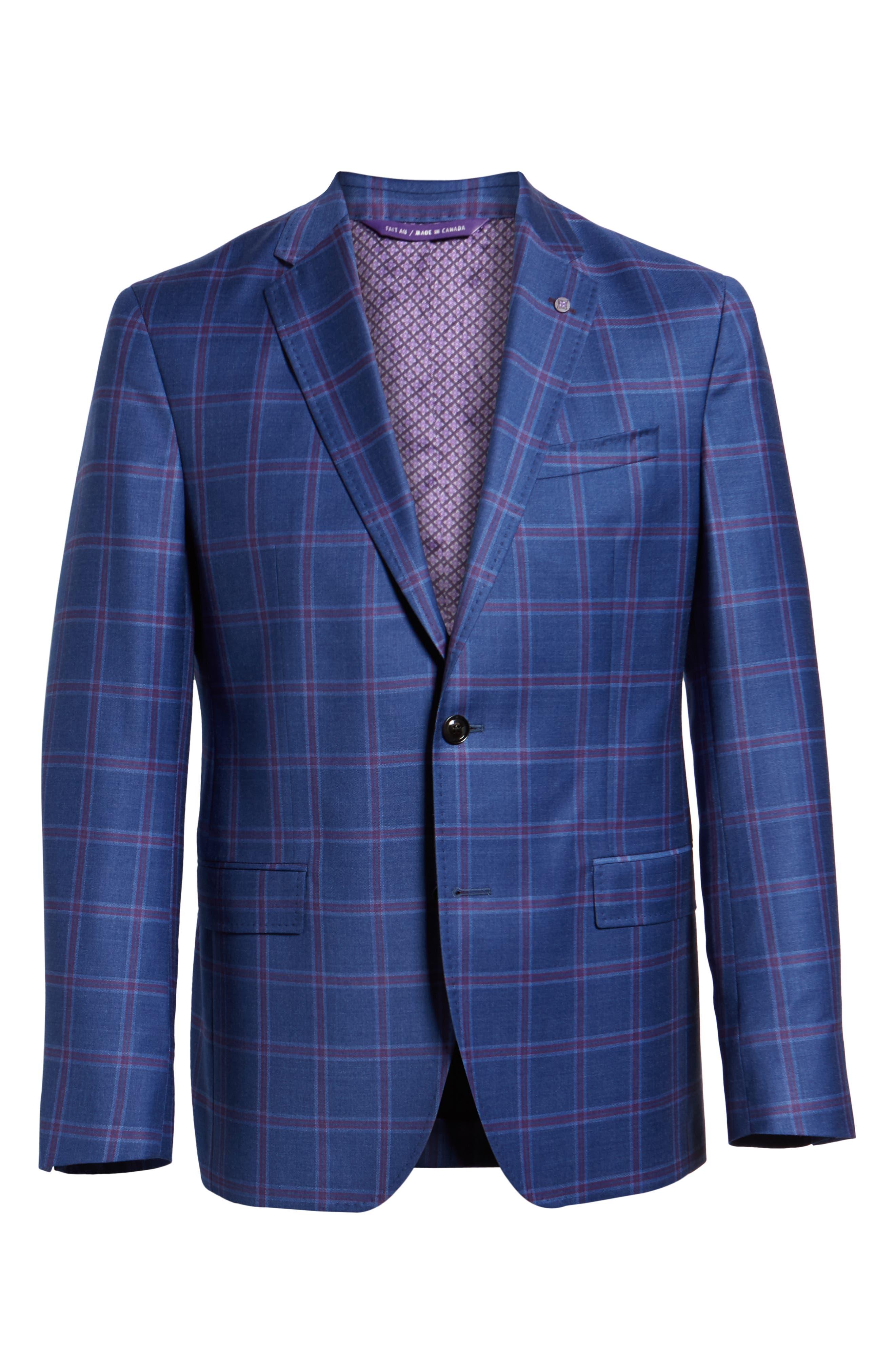 TED BAKER LONDON, Konan Trim Fit Wool Sport Coat, Alternate thumbnail 5, color, BLUE