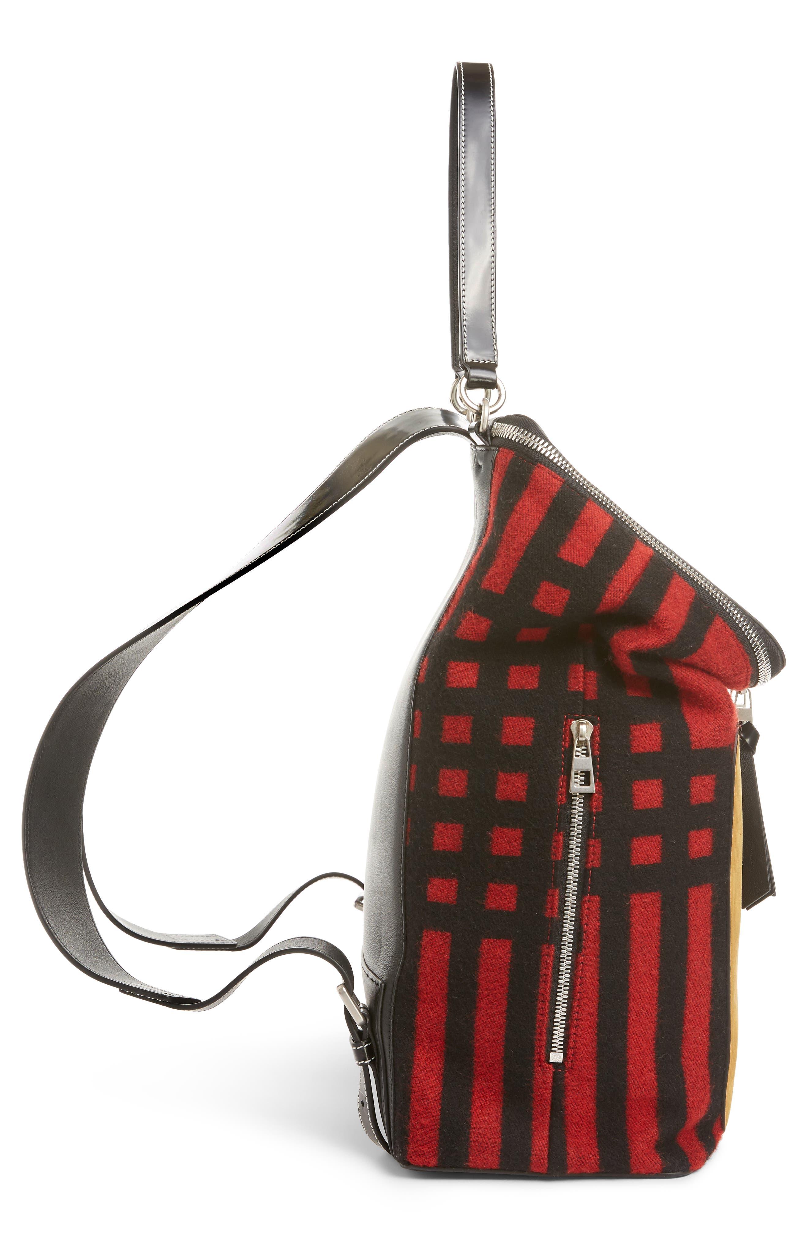 LOEWE, Goya Grid Backpack, Alternate thumbnail 4, color, SCARLET RED/BLACK