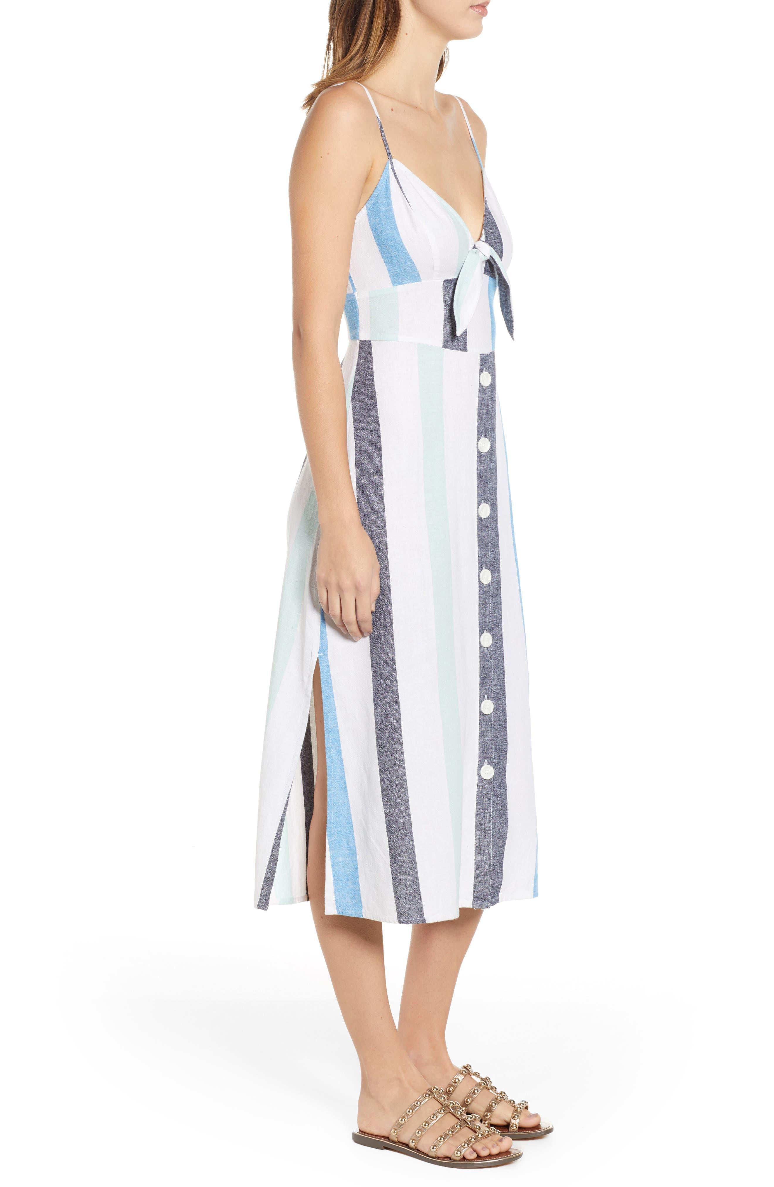 BP., Stripe Sundress, Alternate thumbnail 5, color, BLUE PLACID LACY STRIPE