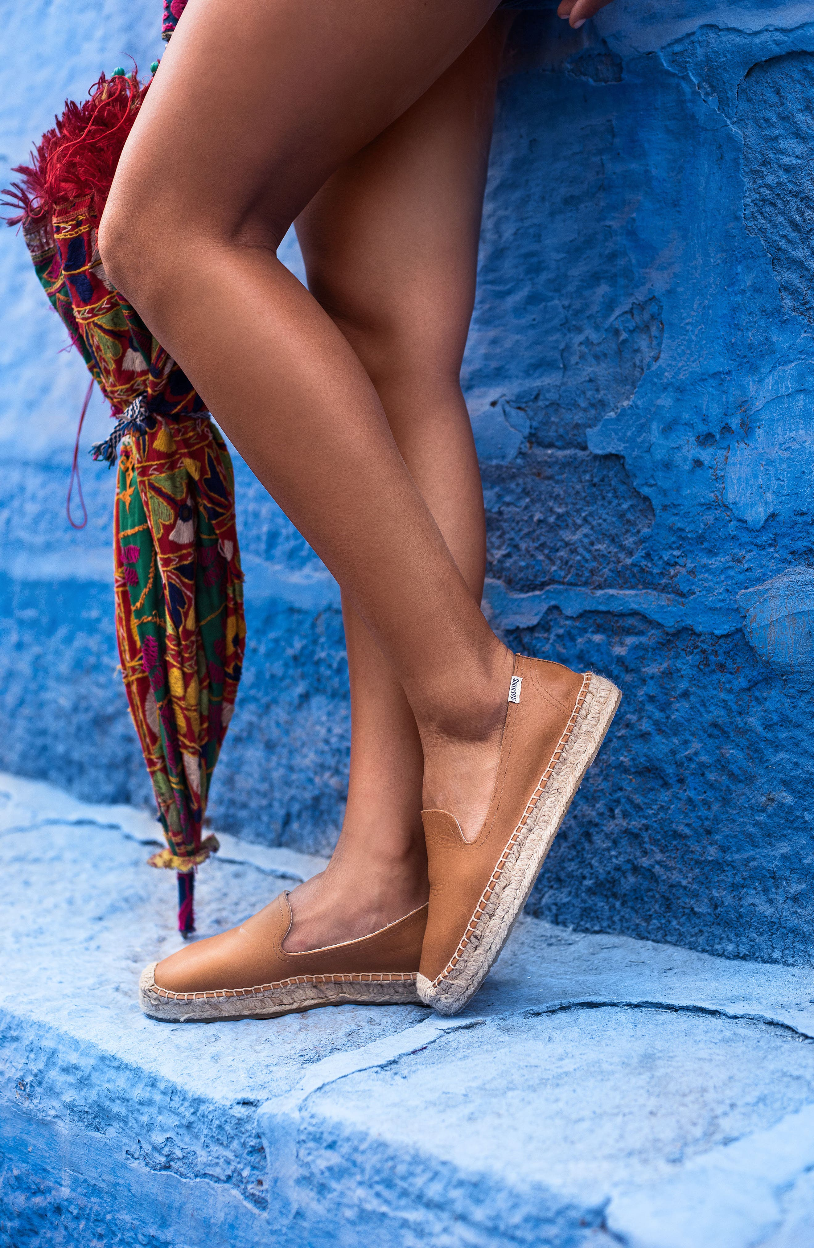 SOLUDOS, 'Smoking' Espadrille Platform Shoe, Alternate thumbnail 9, color, TAN LEATHER
