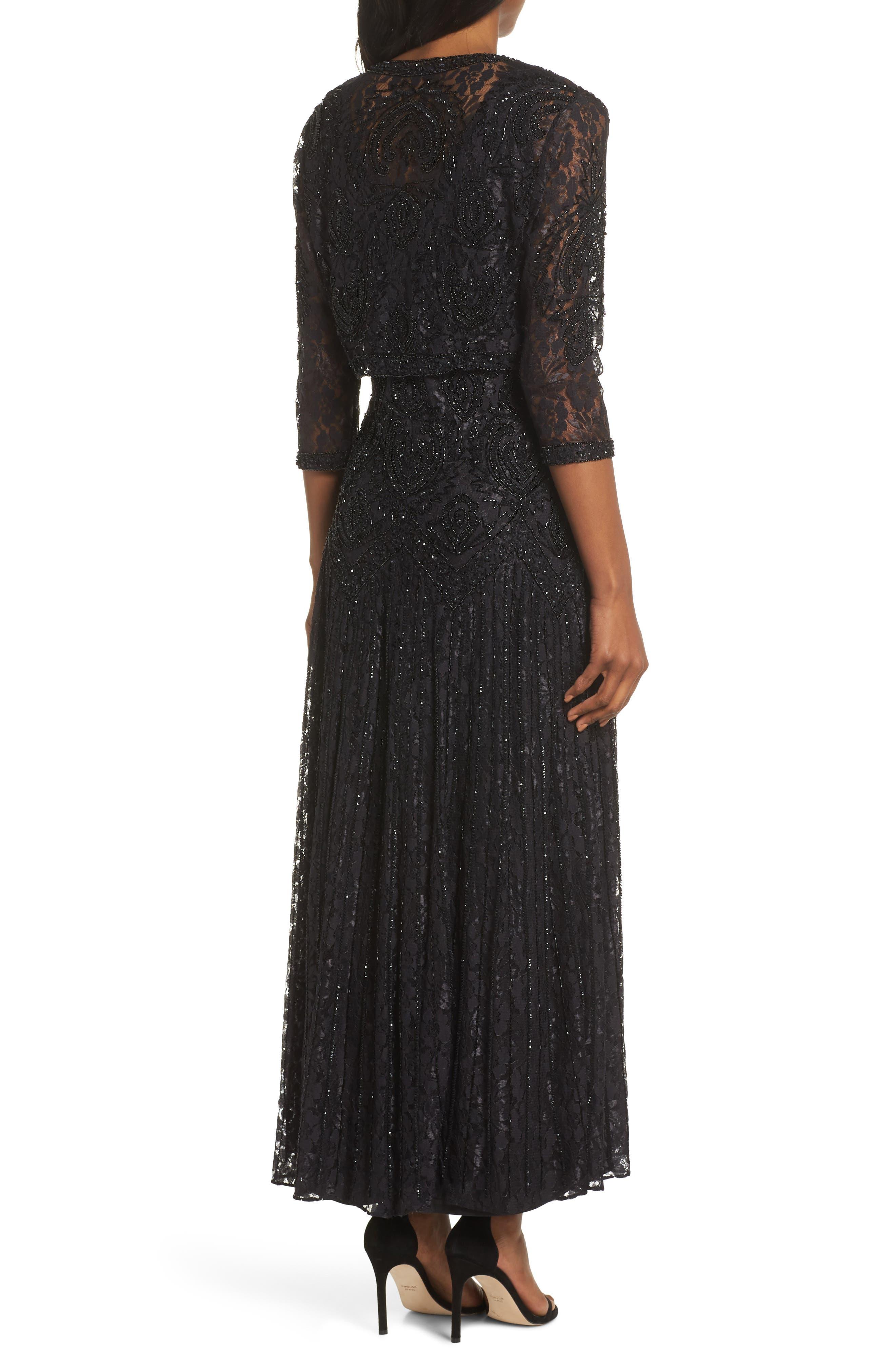 PISARRO NIGHTS, Beaded Lace Evening Dress with Bolero, Alternate thumbnail 2, color, BLACK