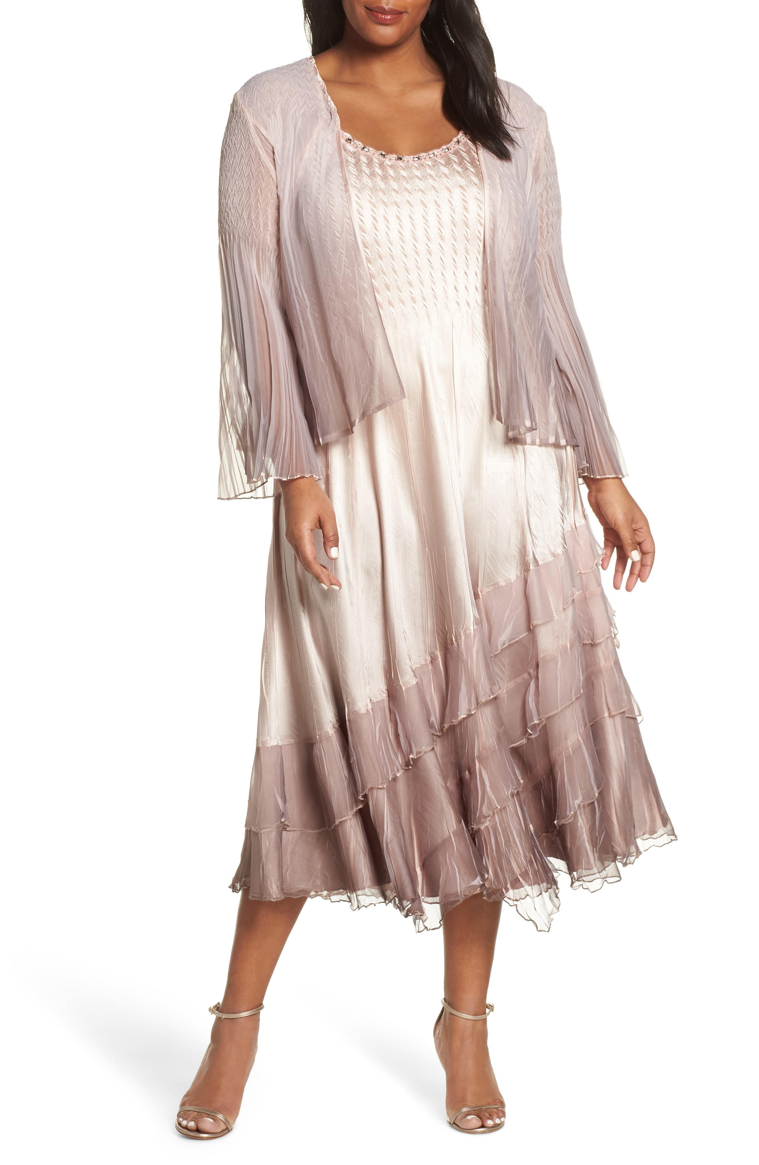 KOMAROV, Tiered Hem Ombré Dress with Jacket, Main thumbnail 1, color, VINTAGE ROSE WITH CAFE OMBRE