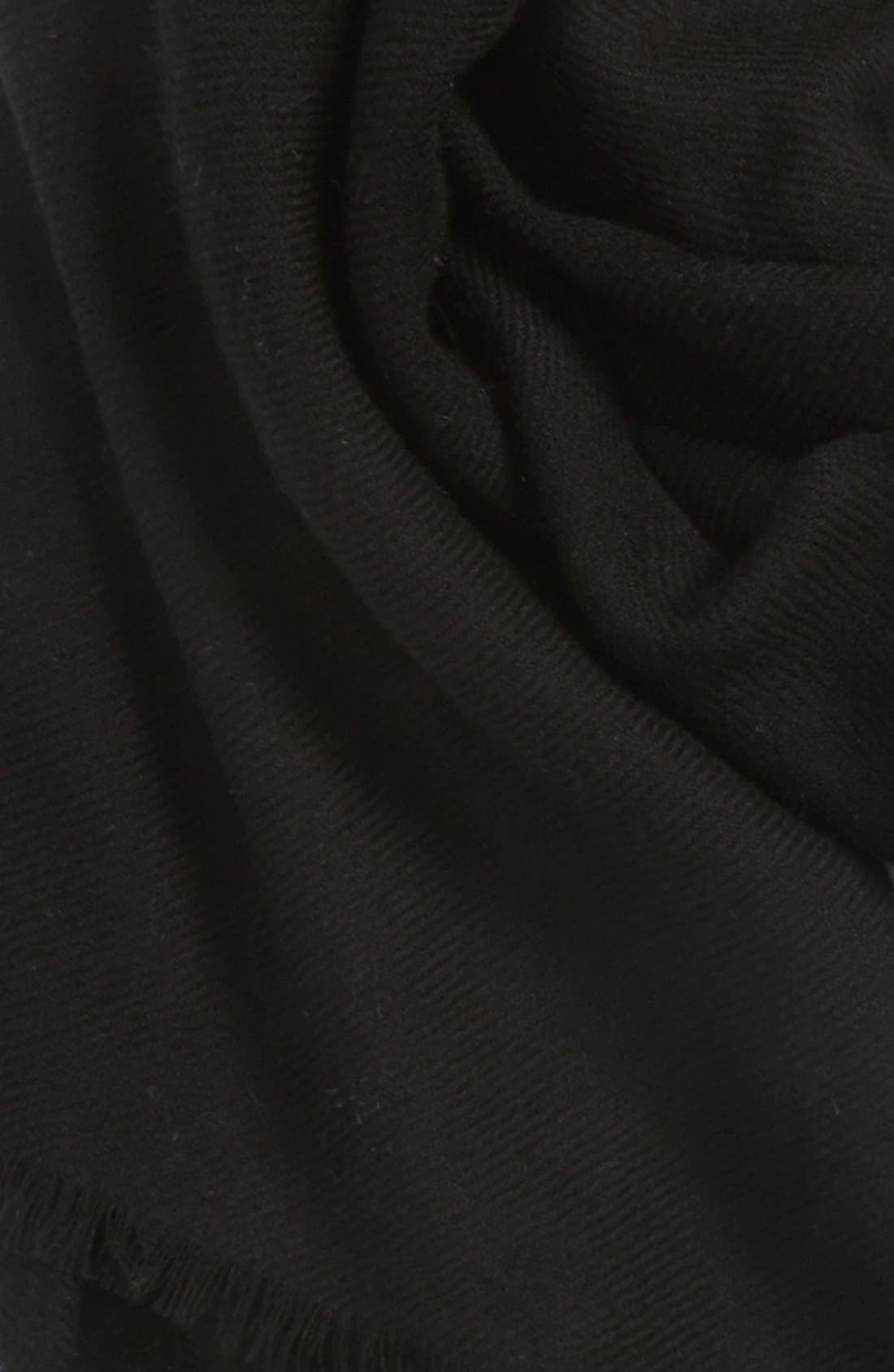 NORDSTROM, Wool & Cashmere Wrap, Alternate thumbnail 3, color, 001