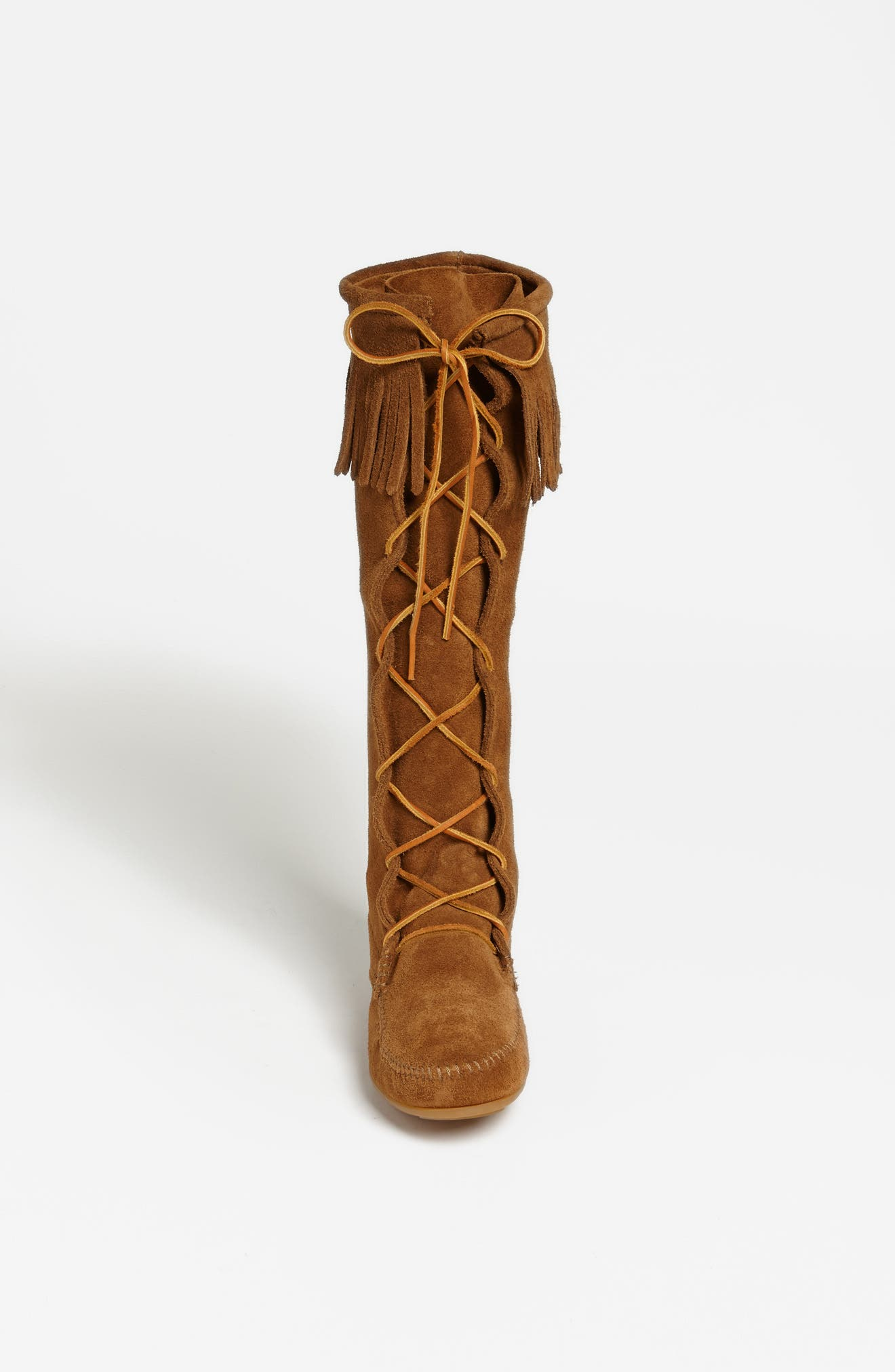 MINNETONKA, Lace-Up Boot, Alternate thumbnail 5, color, DUSTY BROWN