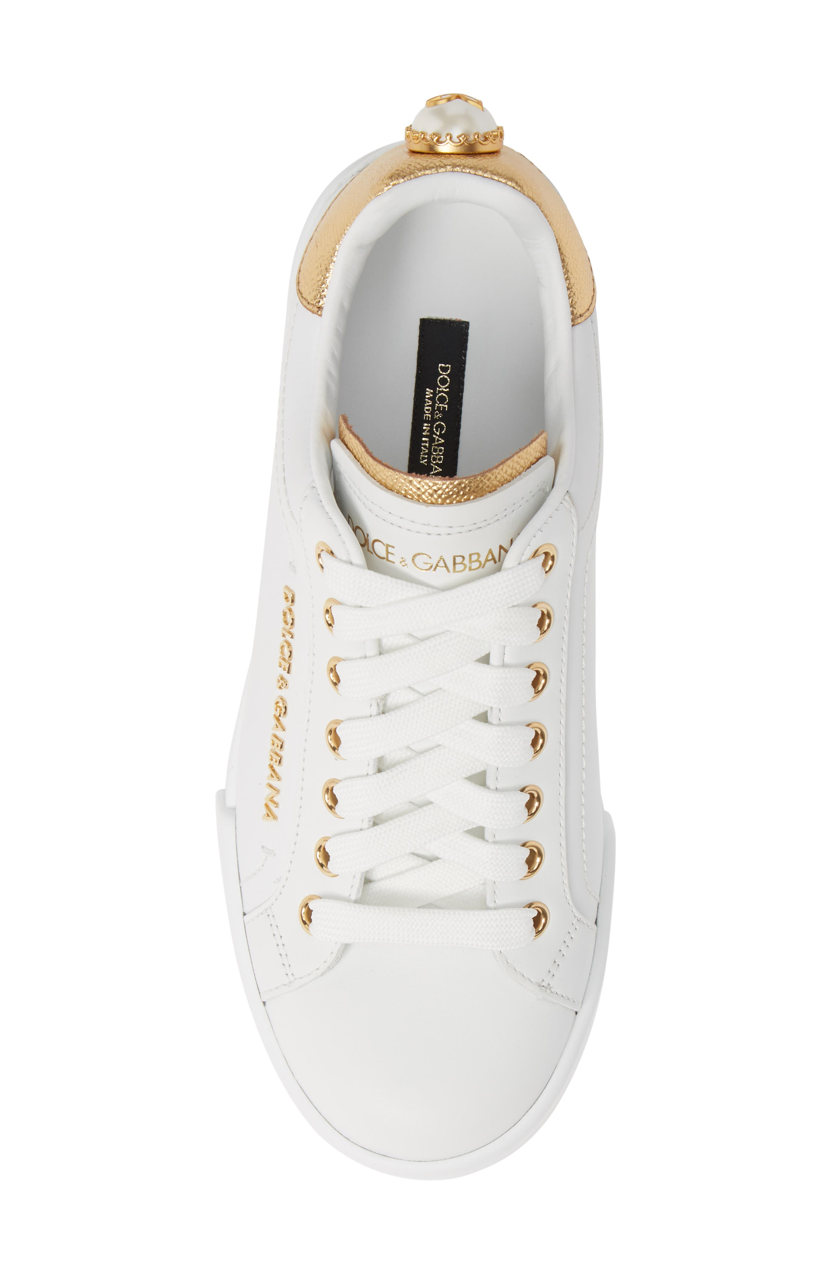 DOLCE&GABBANA, Portofino Embellished Sneaker, Alternate thumbnail 5, color, WHITE/ GOLD