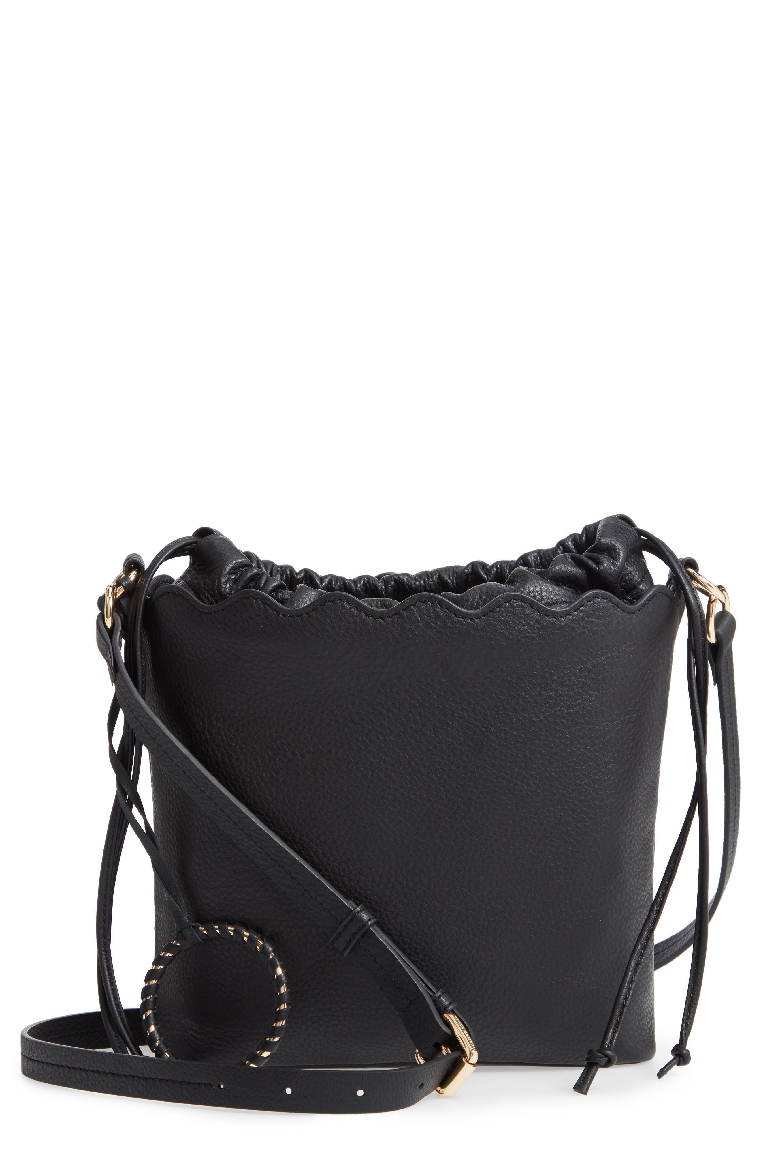 VINCE CAMUTO, Wavy Leather Bucket Bag, Main thumbnail 1, color, BLACK
