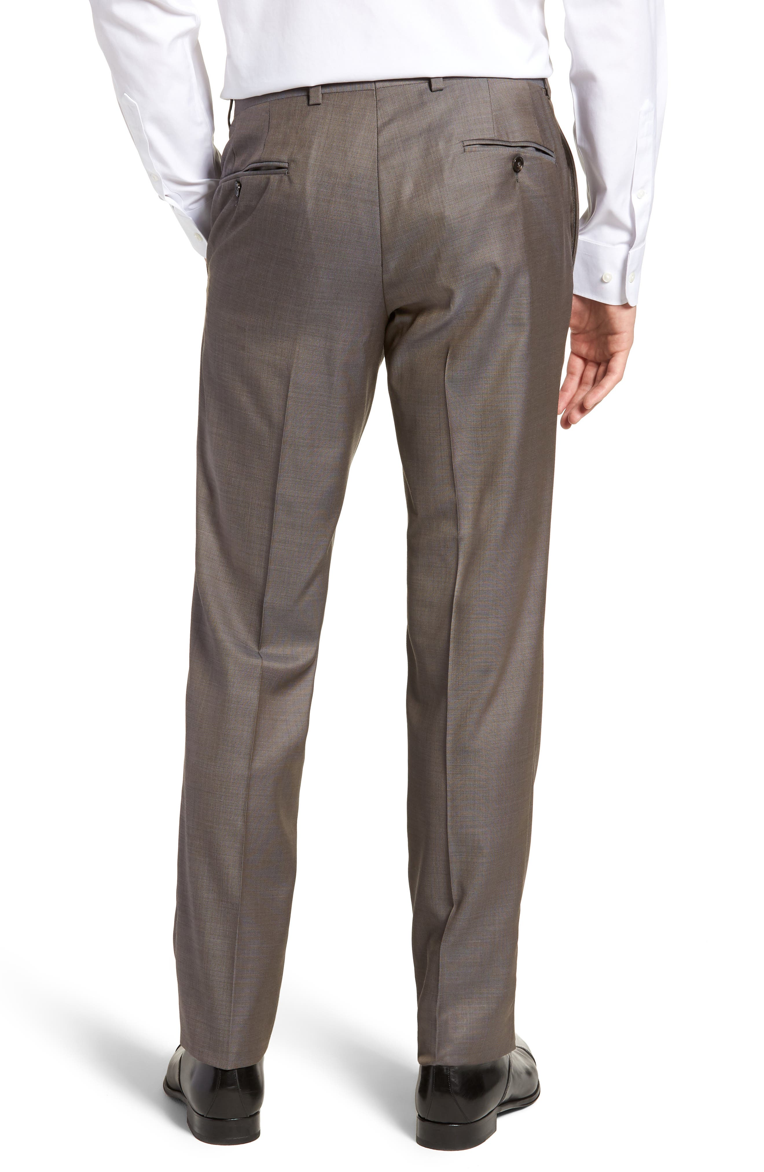 TED BAKER LONDON, Jefferson Flat Front Wool Trousers, Alternate thumbnail 2, color, MID GREY