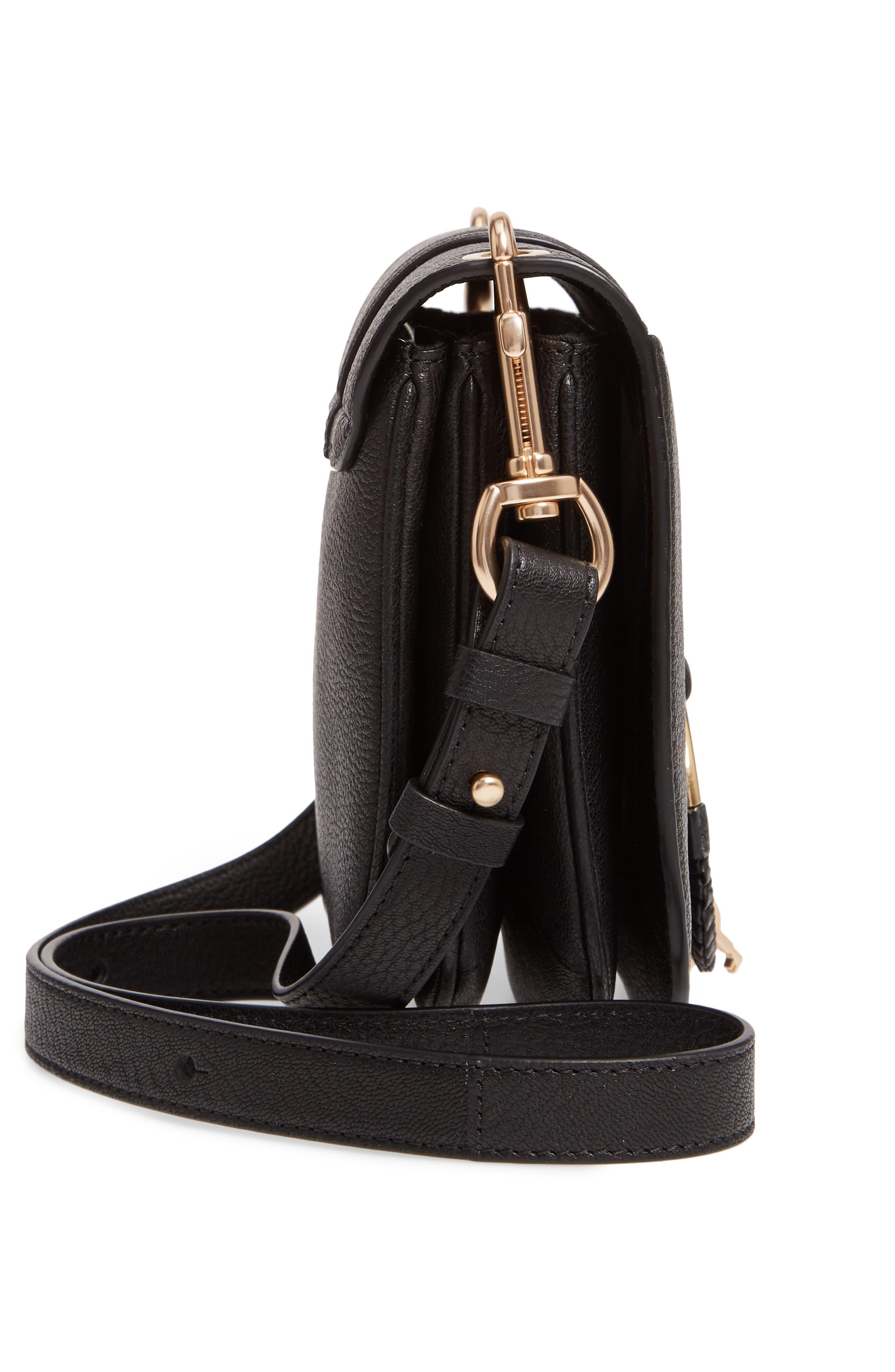 SEE BY CHLOÉ, Hana Small Leather Crossbody Bag, Alternate thumbnail 5, color, 001