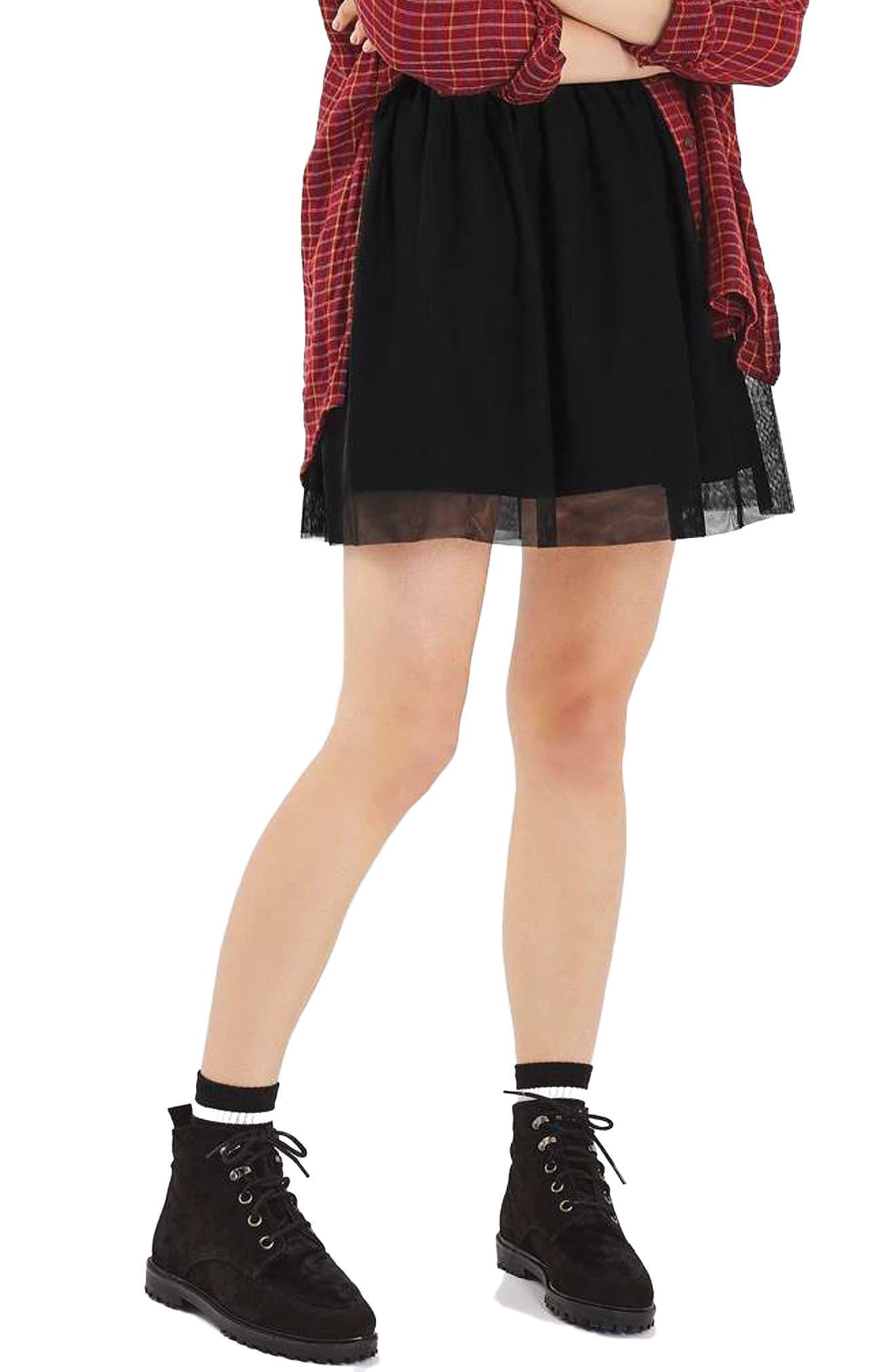 TOPSHOP Tulle Miniskirt, Main, color, 001