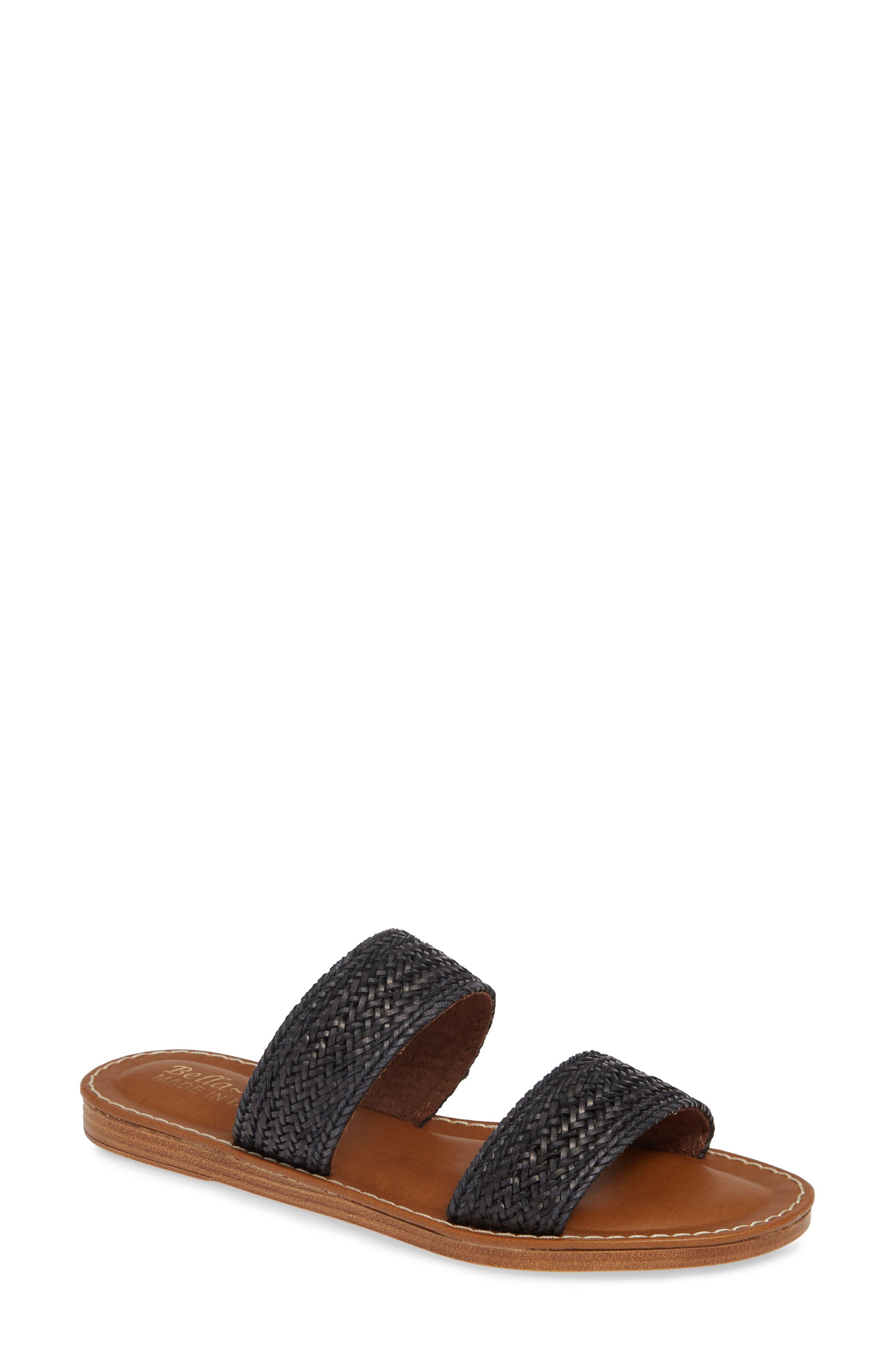 BELLA VITA Two-Strap Slide Sandal, Main, color, BLACK WOVEN