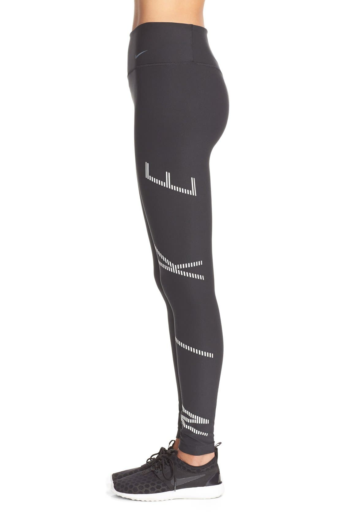 NIKE, Power Legendary Graphic Tights, Alternate thumbnail 3, color, 010