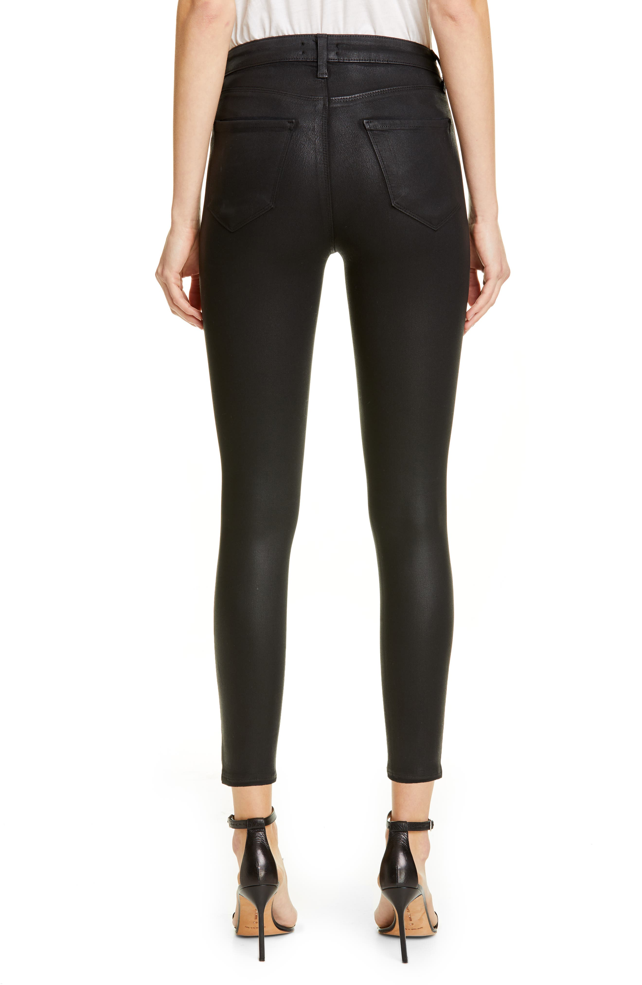 L'AGENCE, Coated High Waist Skinny Jeans, Alternate thumbnail 2, color, BLACK COATED