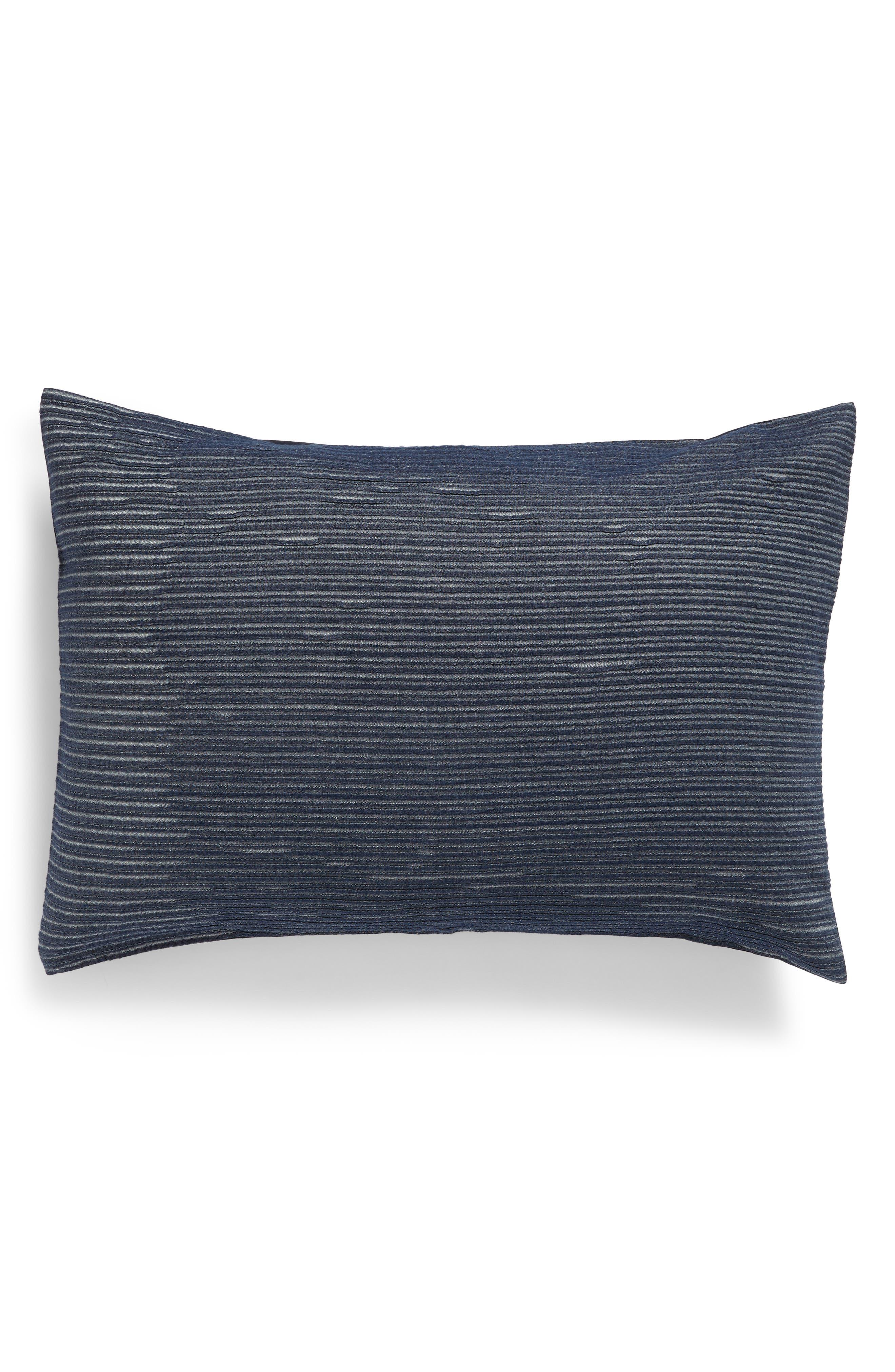 TREASURE & BOND Stripe Texture Sham, Main, color, NAVY BLUE