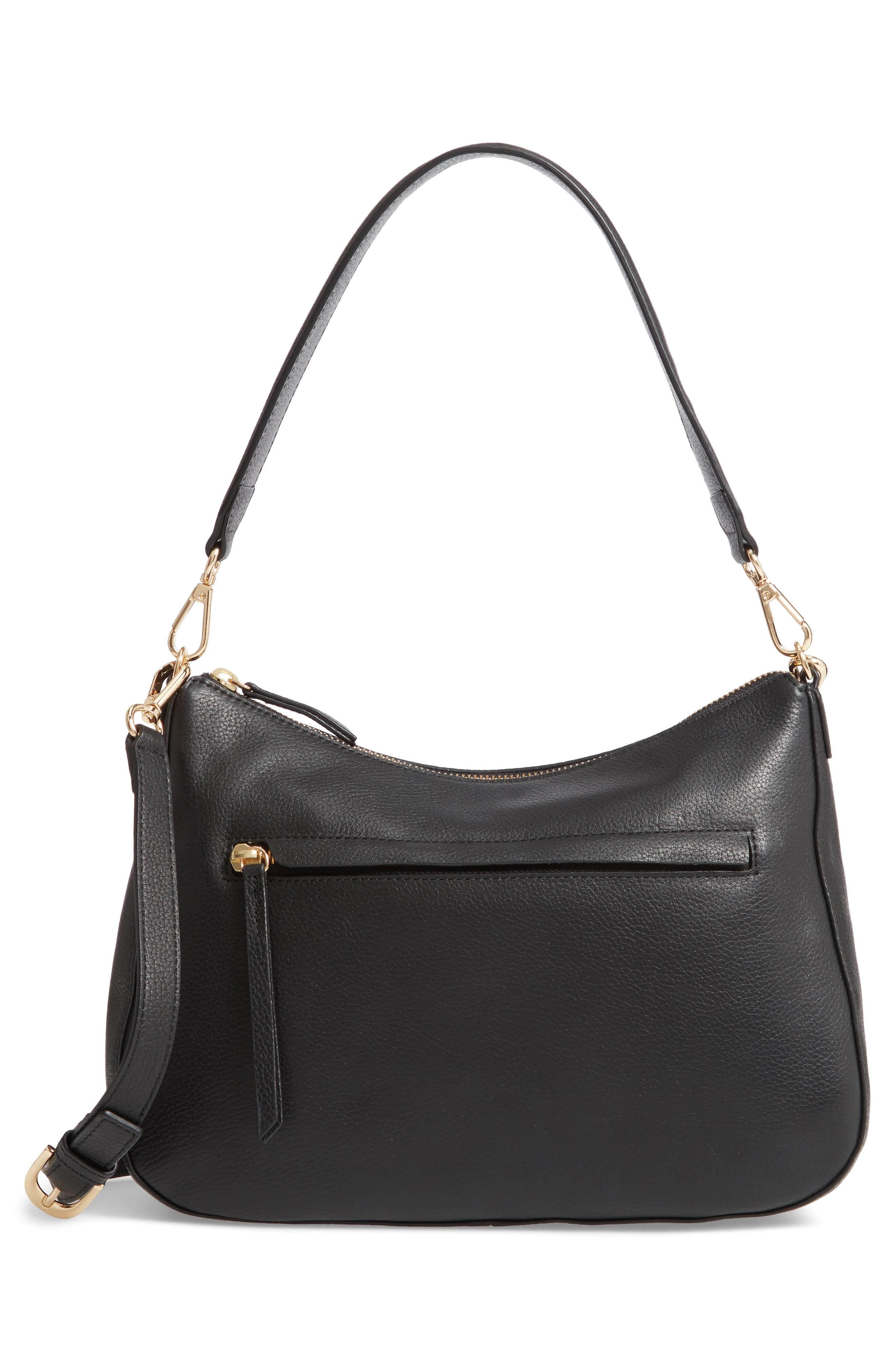 NORDSTROM, Finn Convertible Leather Hobo, Alternate thumbnail 4, color, BLACK