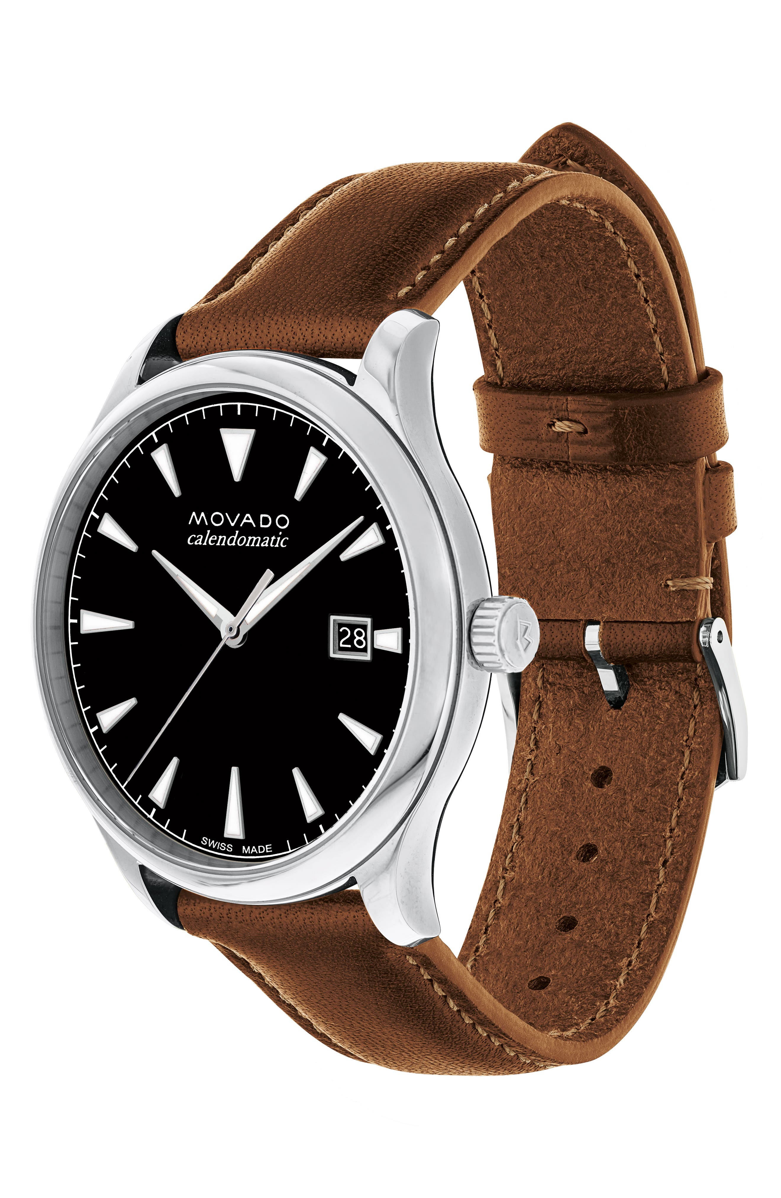 MOVADO, Heritage Leather Strap Watch, 40mm, Alternate thumbnail 3, color, COGNAC/ BLACK/ SILVER