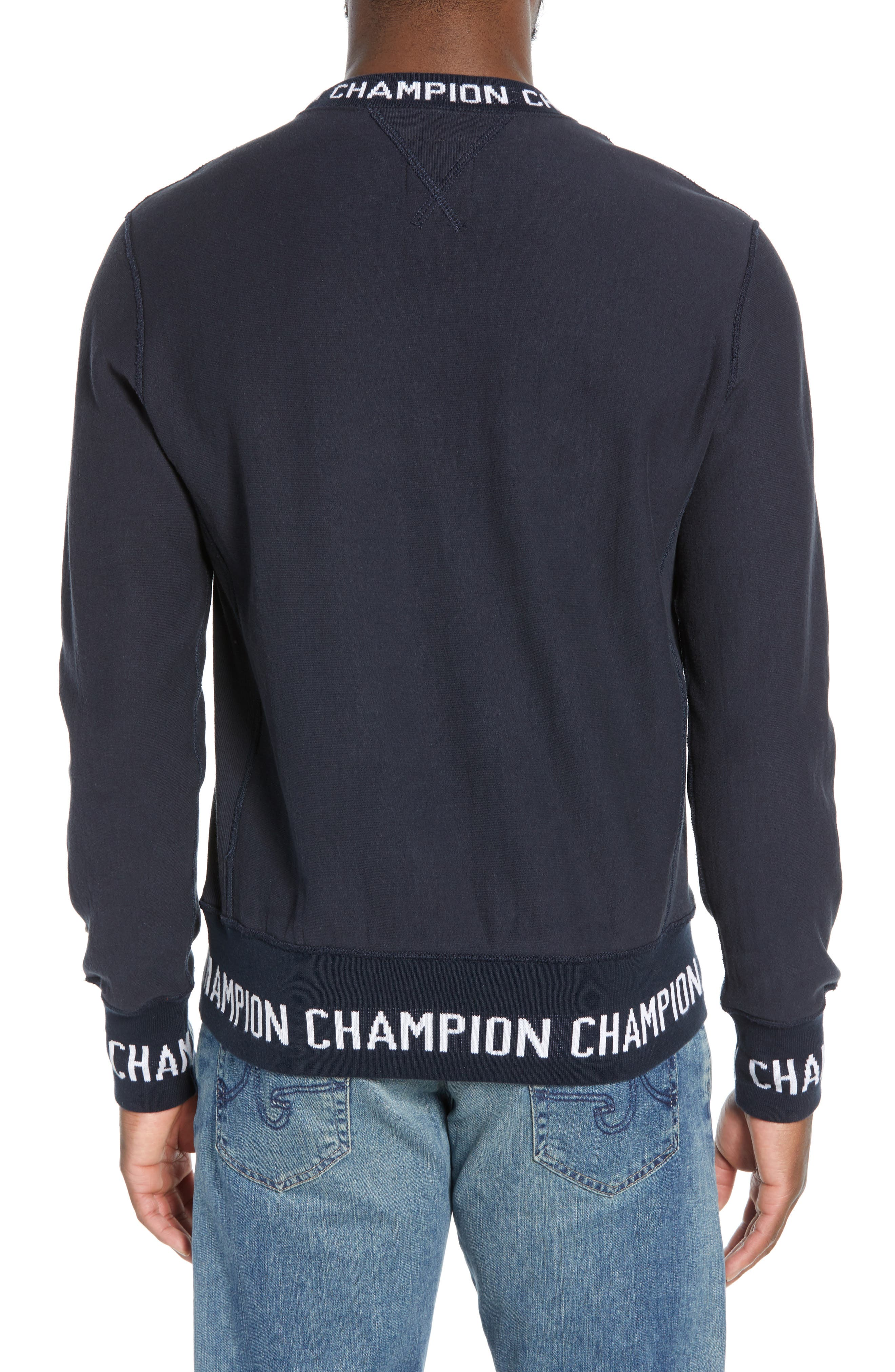 TODD SNYDER + CHAMPION, Todd Snyder x Champion Ribbed Logo Sweatshirt, Alternate thumbnail 2, color, NAVY