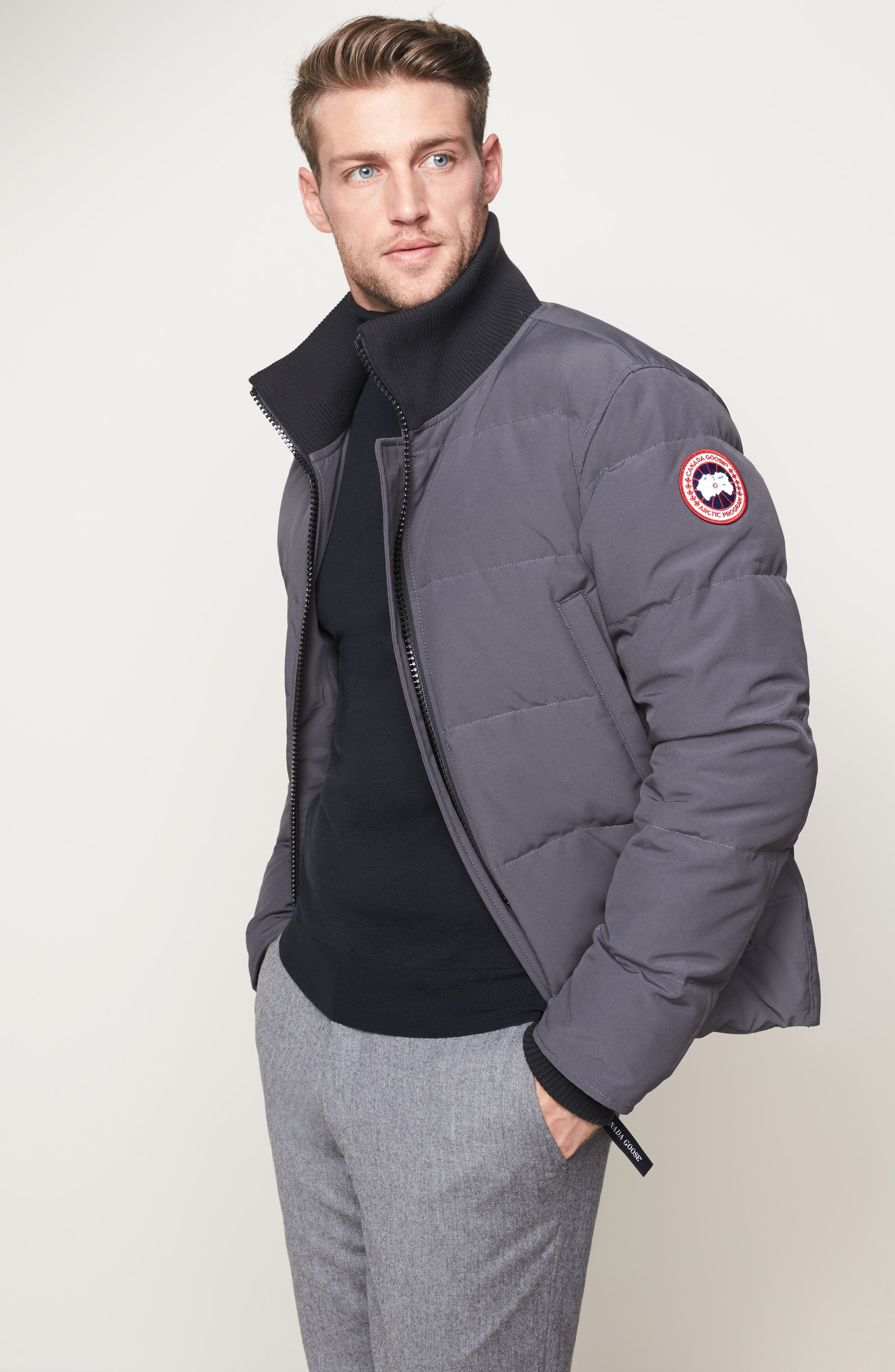 CANADA GOOSE, 'Woolford' Slim Fit Down Bomber Jacket, Alternate thumbnail 11, color, GRAPHITE