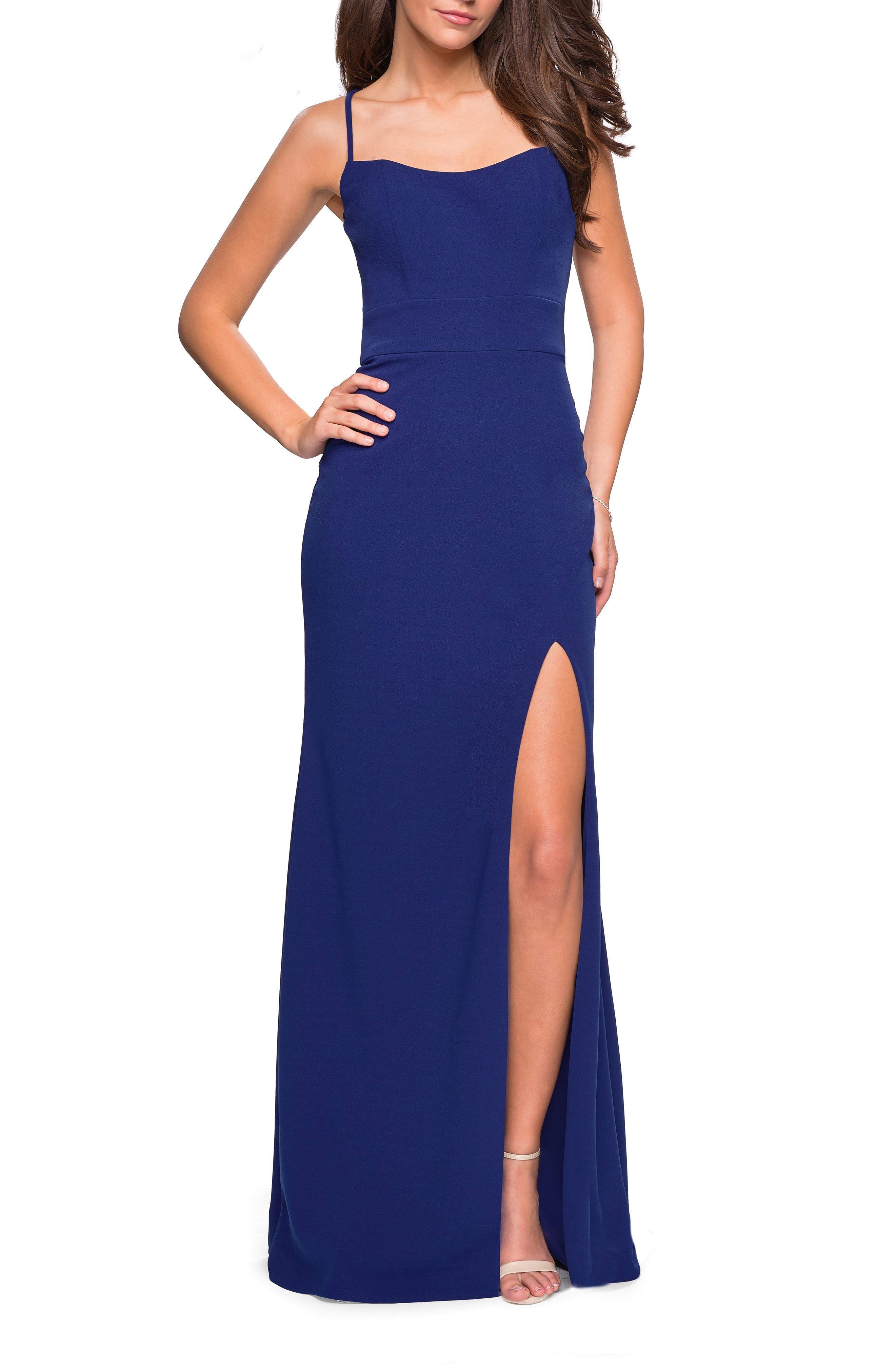 La Femme Sweetheart Neck Jersey Evening Dress, Blue