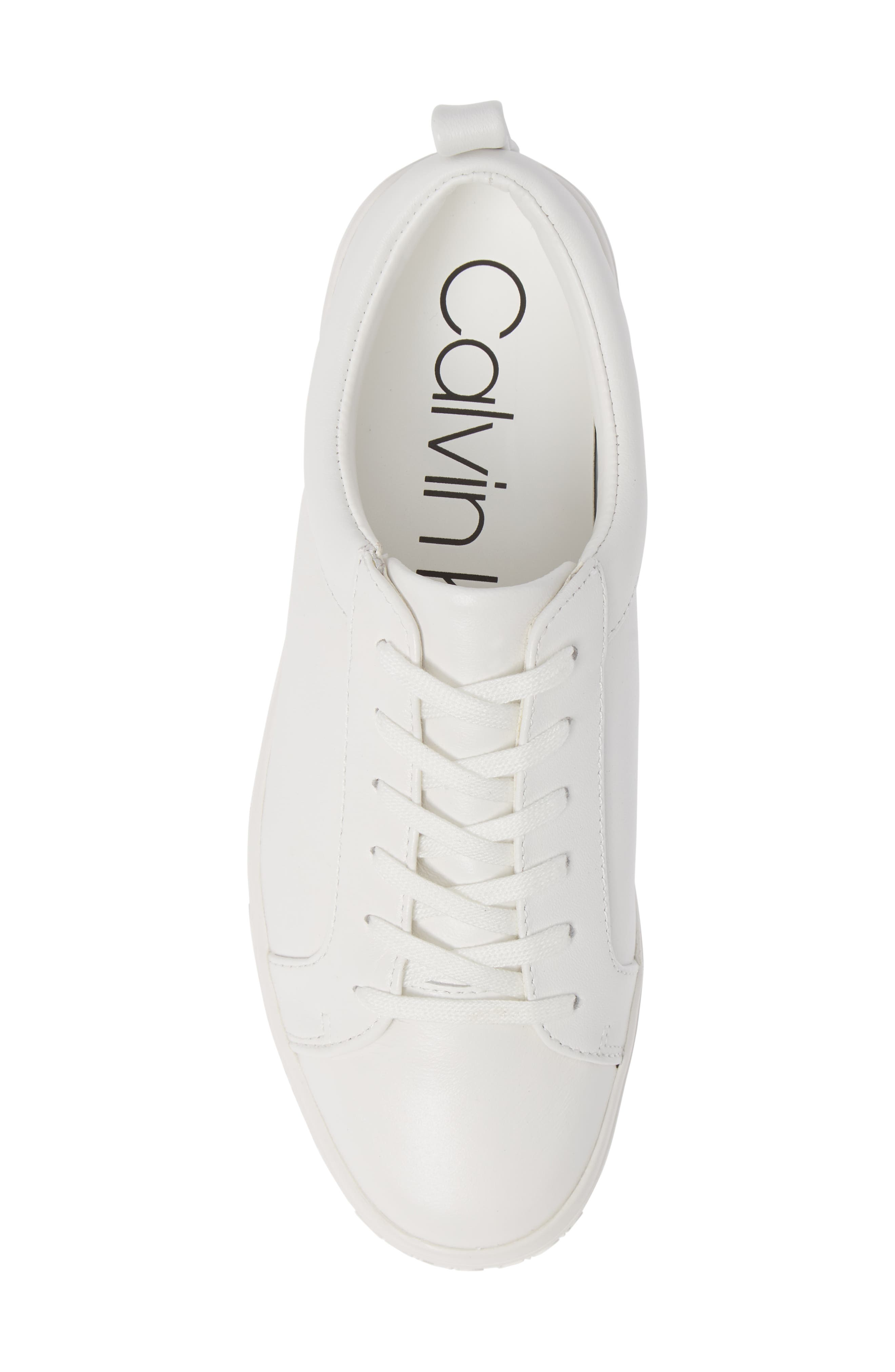 CALVIN KLEIN, Jaelee Sneaker, Alternate thumbnail 5, color, WHITE NAPPA LEATHER