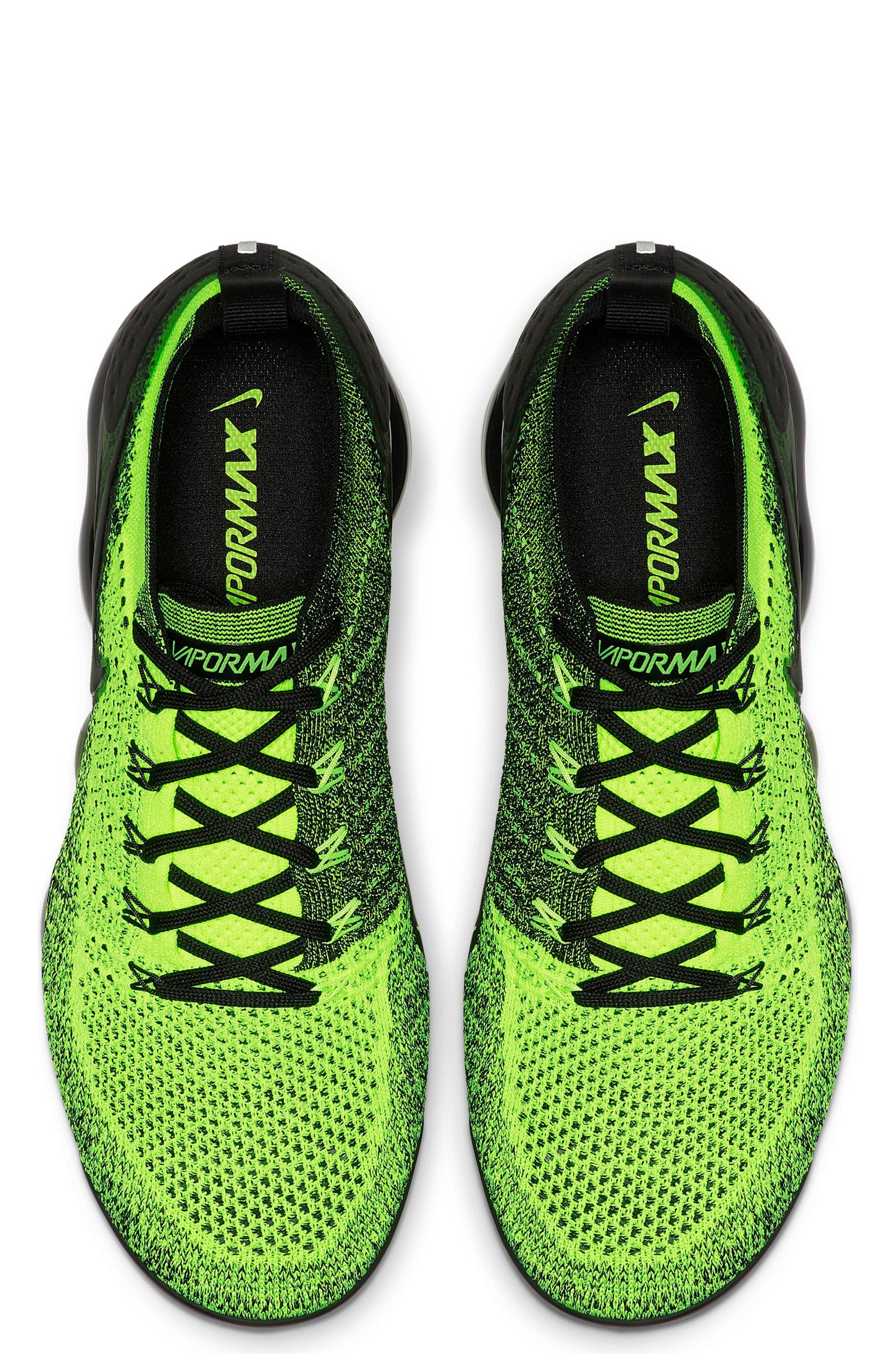 NIKE, Air VaporMax Flyknit 2 Running Shoe, Alternate thumbnail 4, color, VOLT/ BLACK/ VOLT