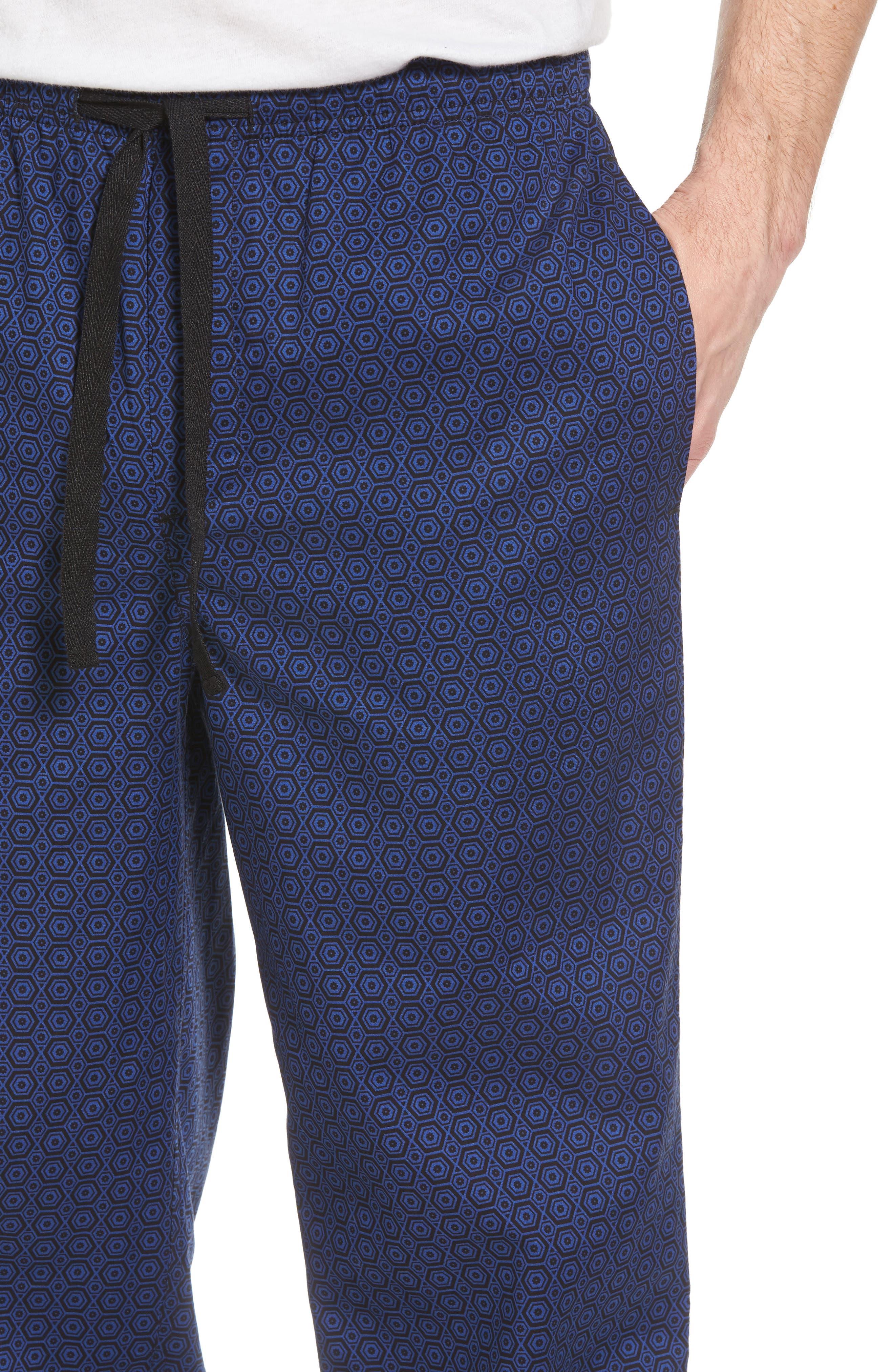 NORDSTROM MEN'S SHOP, Poplin Pajama Pants, Alternate thumbnail 4, color, 002