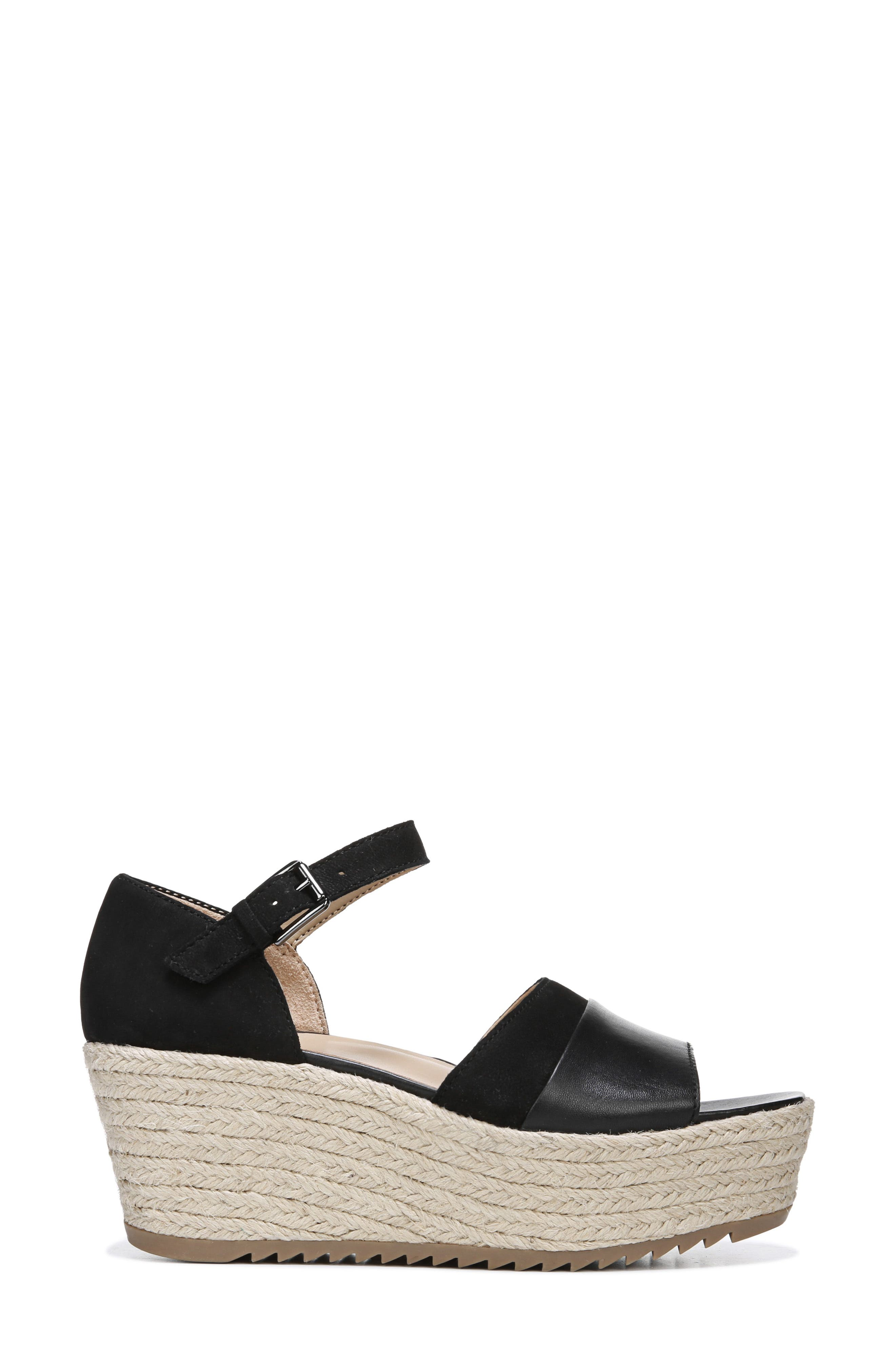 NATURALIZER, Opal Espadrille Platform Wedge Sandal, Alternate thumbnail 3, color, BLACK LEATHER