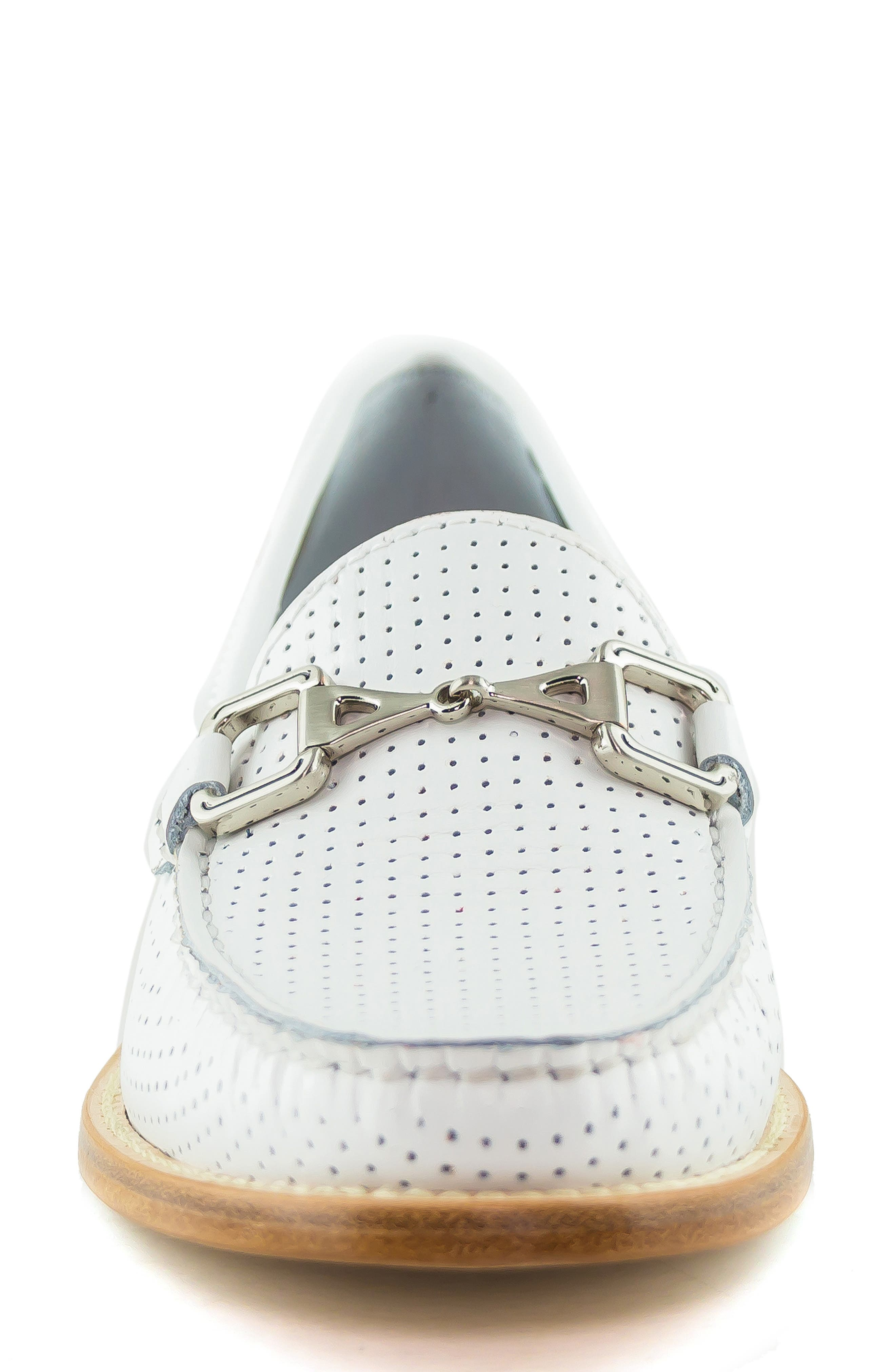 MARC JOSEPH NEW YORK, Park Ave Perforated Loafer, Alternate thumbnail 4, color, WHITE LEATHER