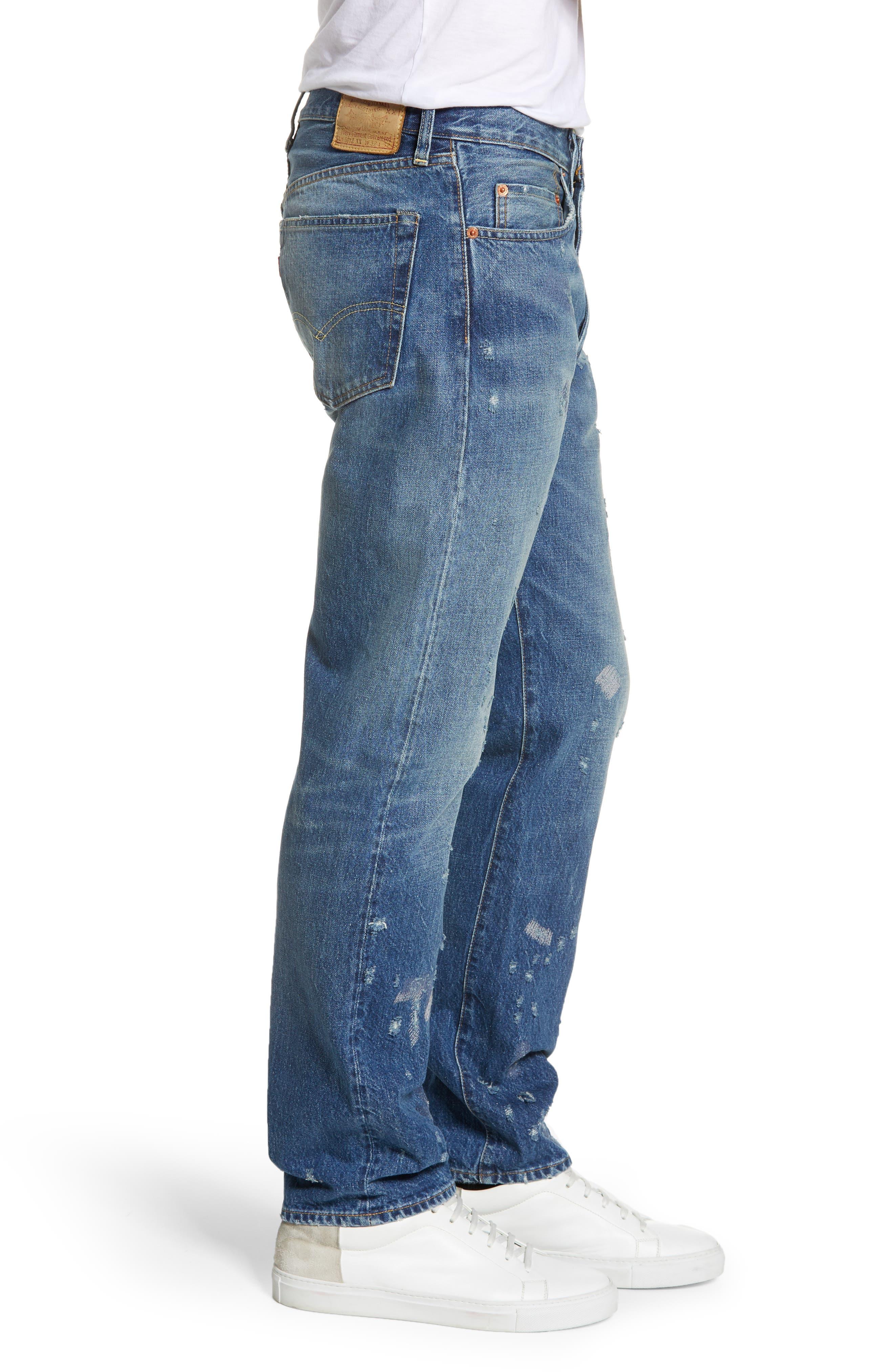 LEVI'S<SUP>®</SUP> VINTAGE CLOTHING, 1954 501<sup>®</sup> Shrink To Fit Straight Leg Jeans, Alternate thumbnail 4, color, BLACKMON