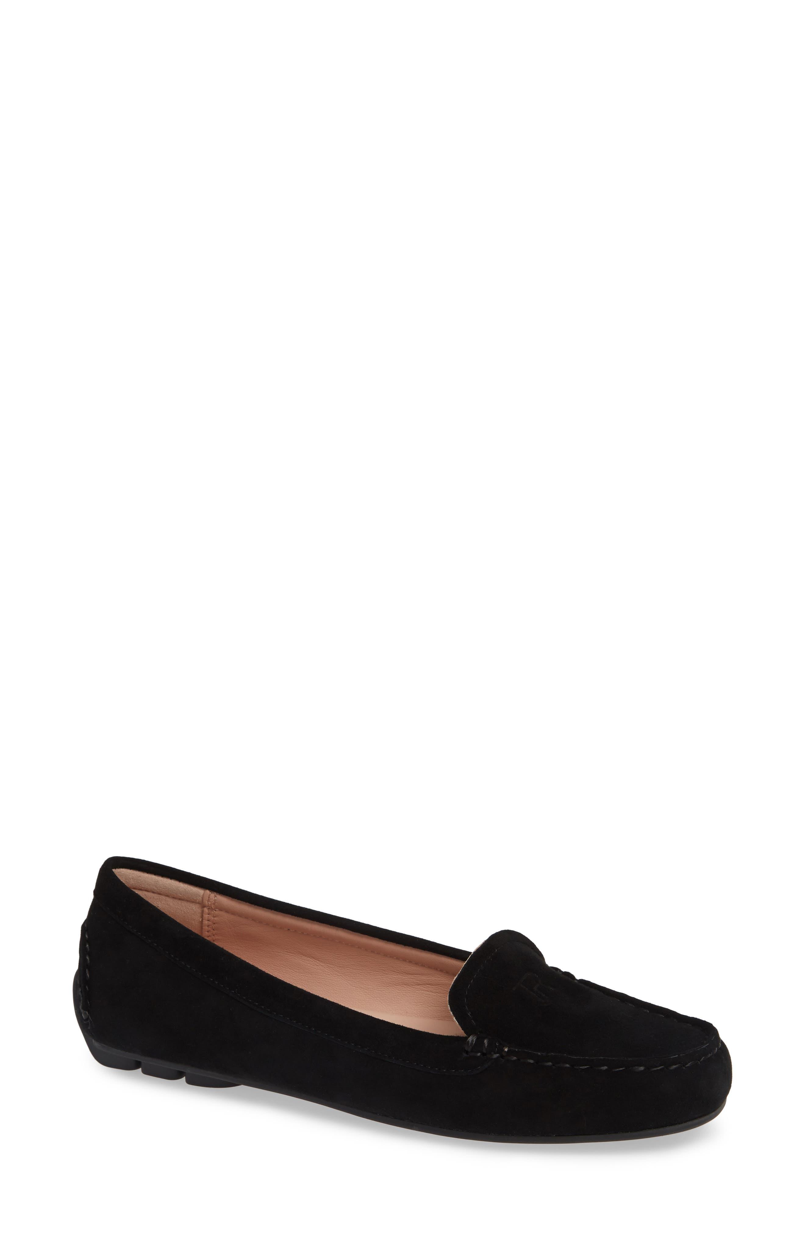 TARYN ROSE, Karen Water Resistant Driving Loafer, Main thumbnail 1, color, BLACK SUEDE