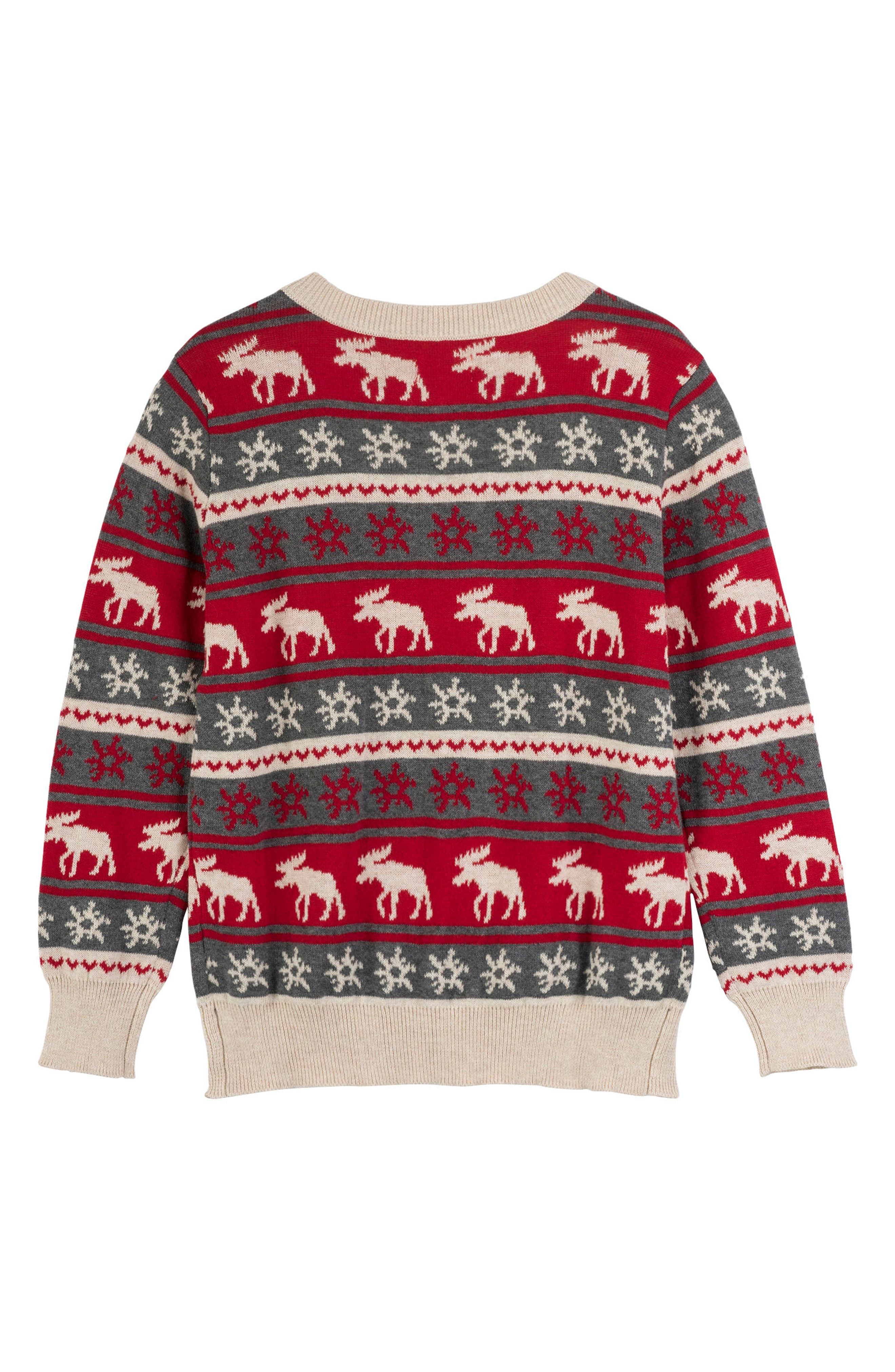 HATLEY, Fair Isle Moose Sweater, Alternate thumbnail 2, color, RED
